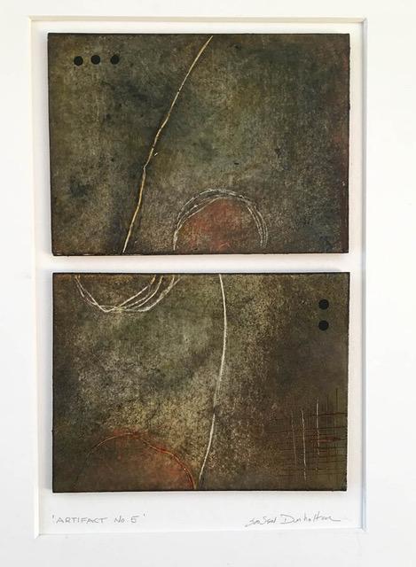 """""""Artifact No. 5"""", wax & oil stick, 14"""" x 11"""", $75 (matted)"""