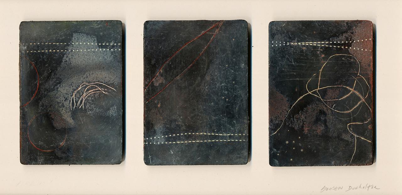 """""""Alchemy"""", (triptych) wax & oil stick, 9"""" x 14"""", $250 (matted)"""
