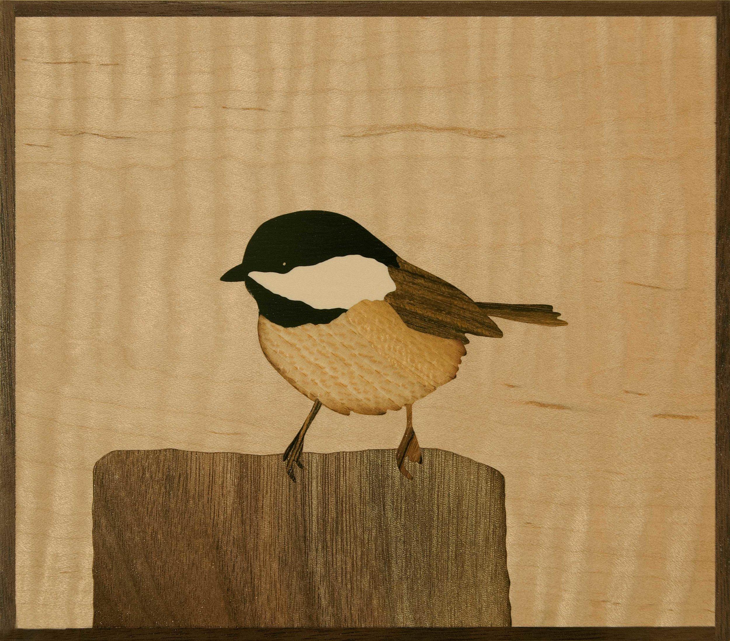"""""""Chickadee"""", wood, 6"""" x 7"""", $425"""