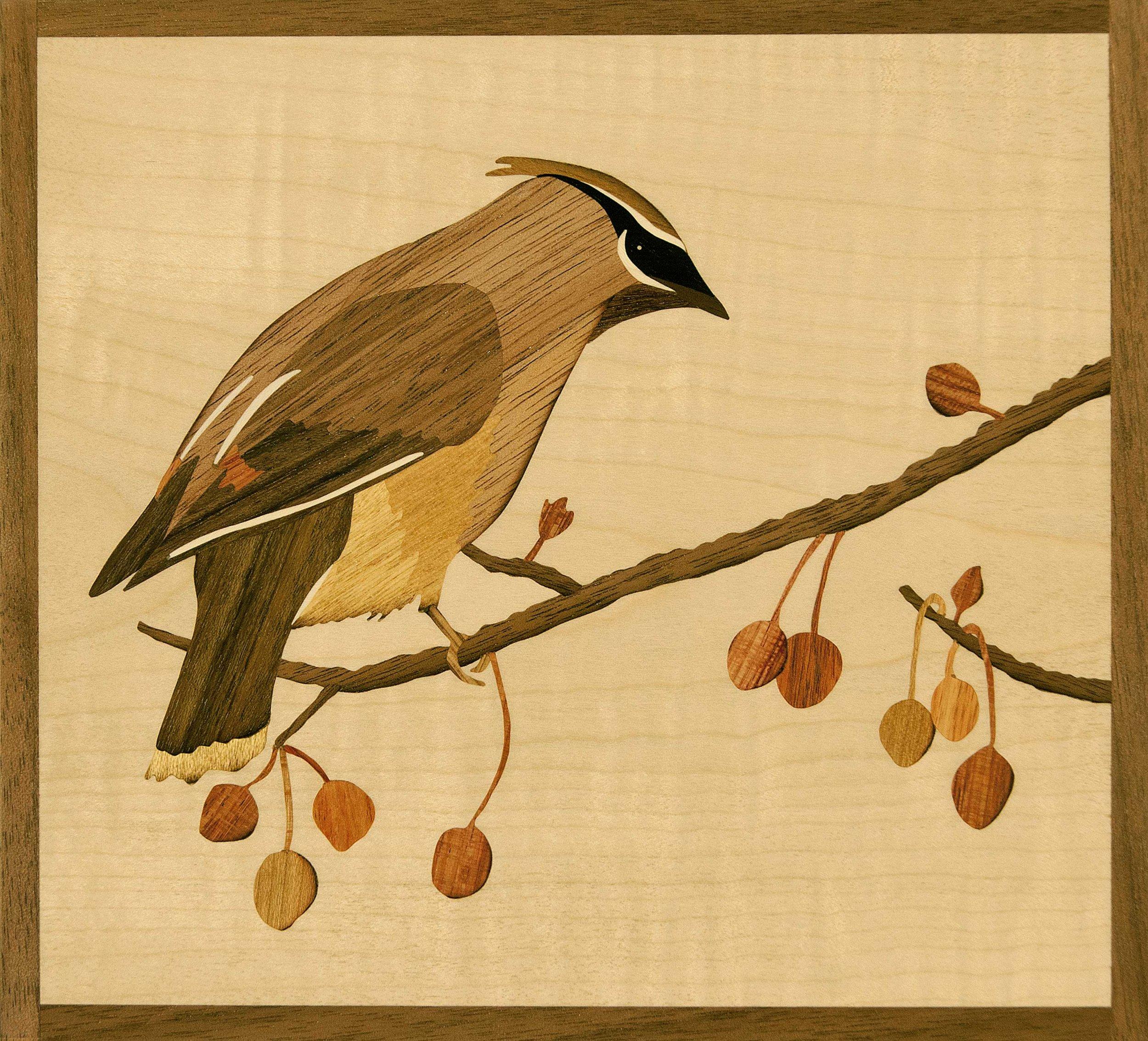 """""""Cedar Waxwing"""", wood, 6.75"""" x 7.5"""", $595"""