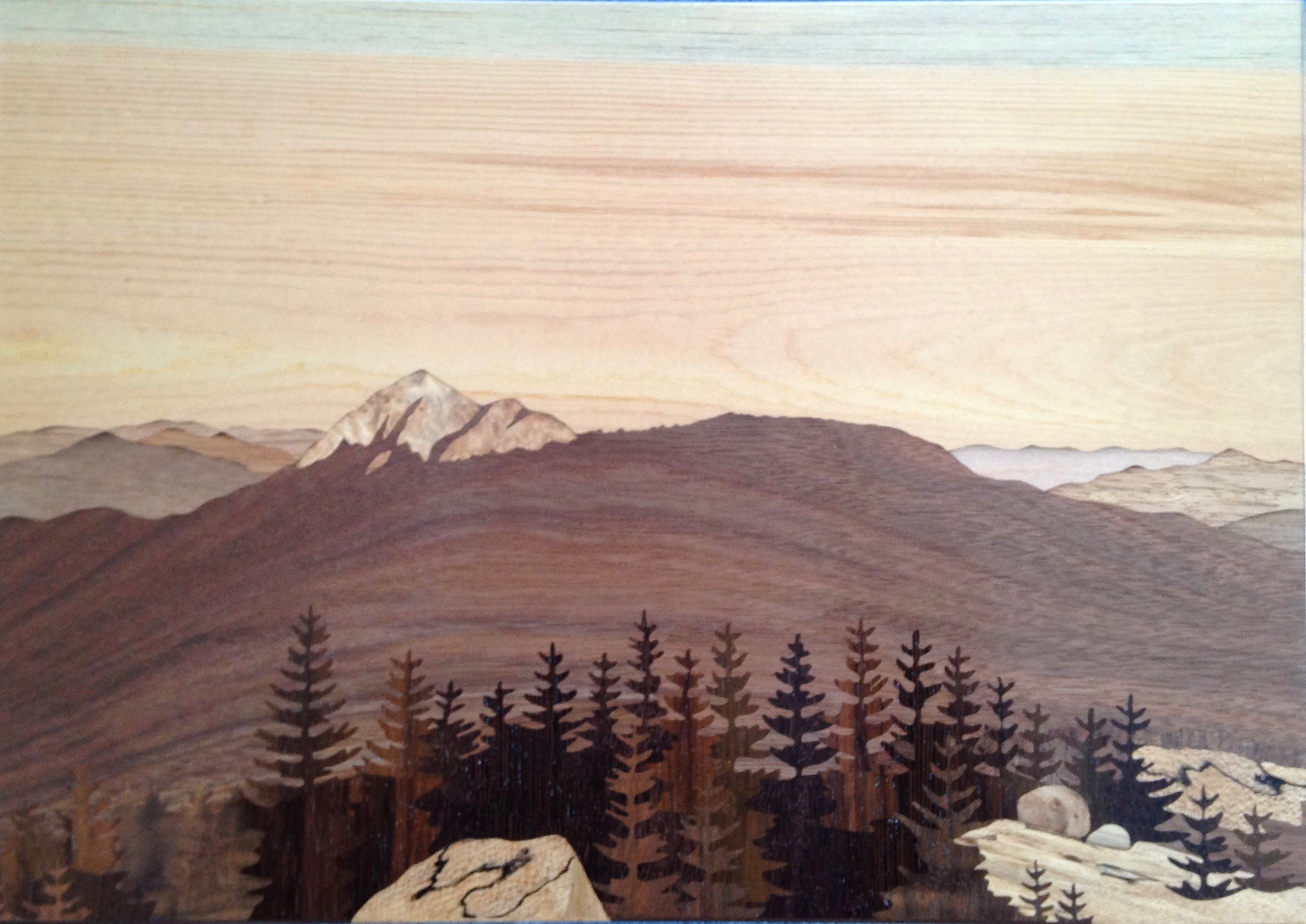 """""""Chocorua From Middle Sister"""", wood, 8.5"""" x 12"""", $1,600"""