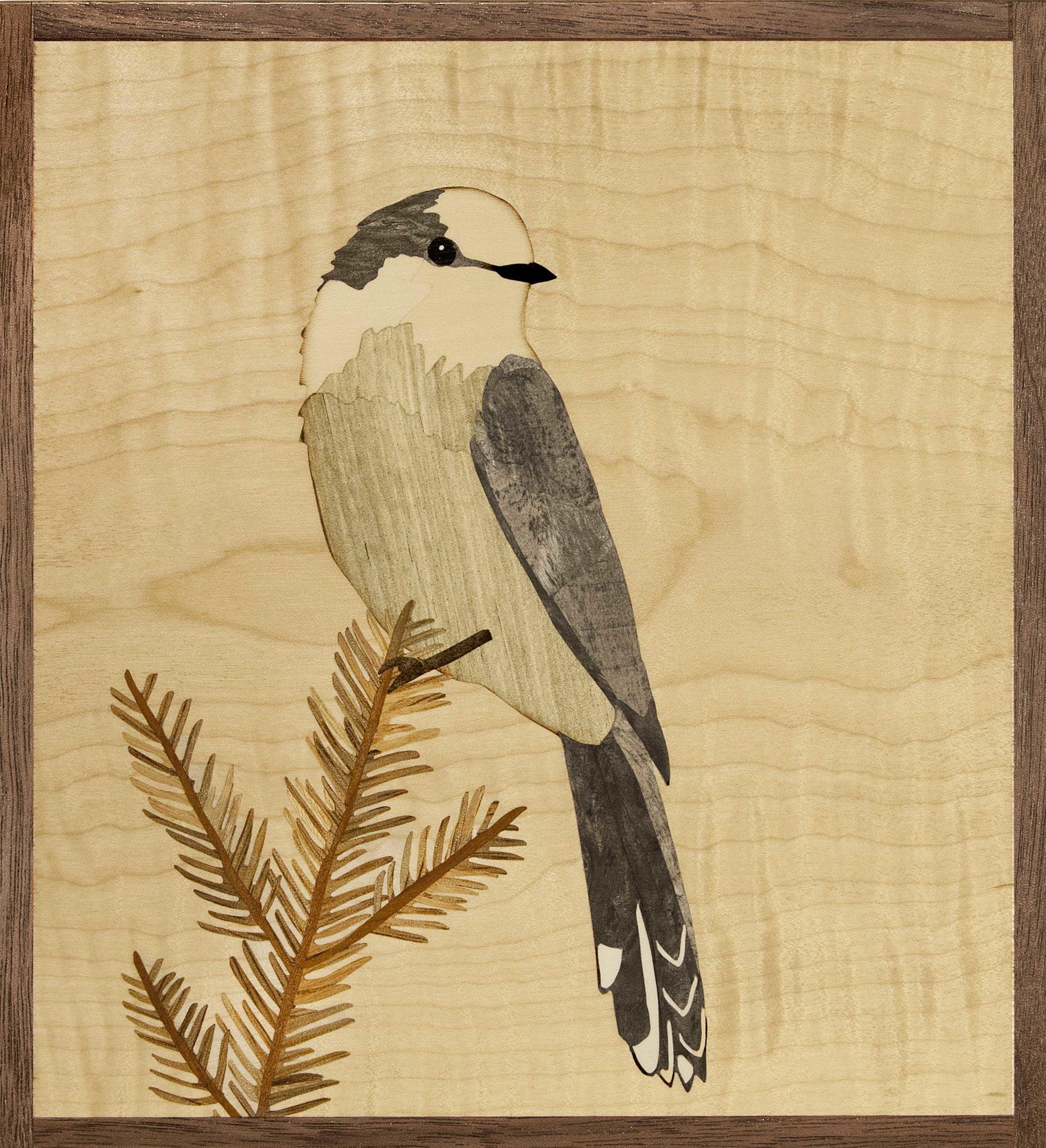 """""""Gray Jay"""", wood, 7.5"""" x 7"""", $595"""