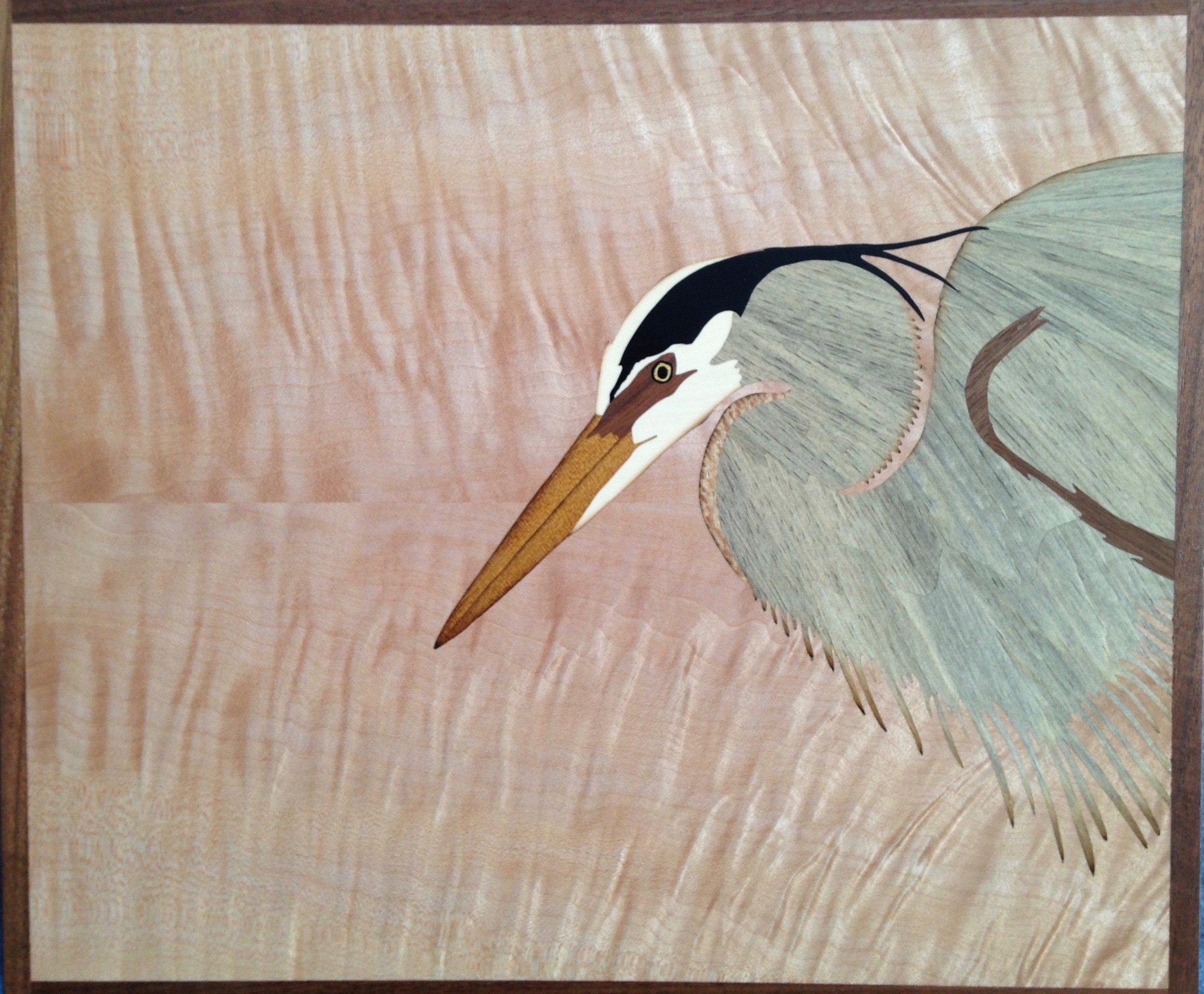 """Heron"", wood, 11"" x 13"", $1,200"
