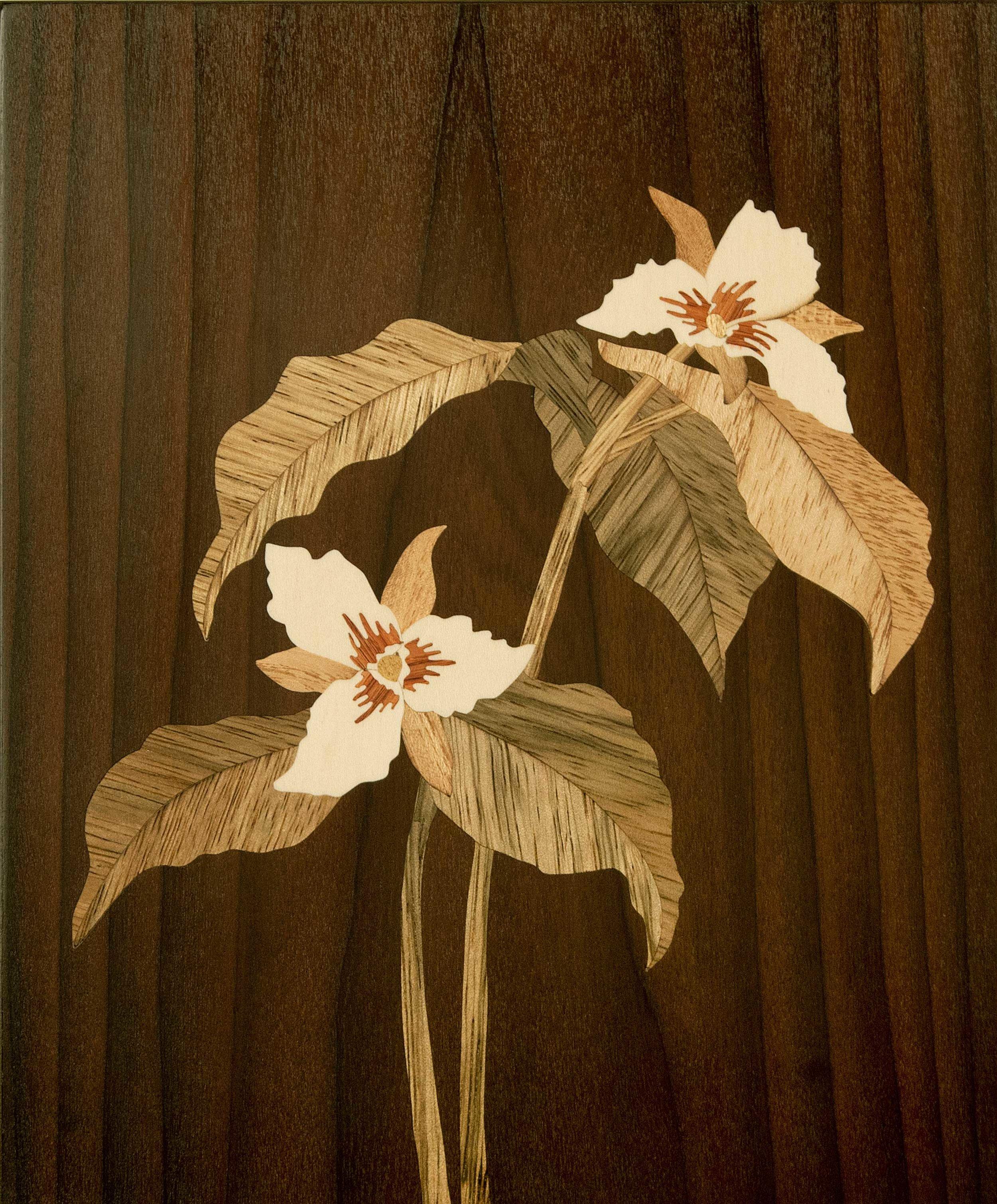 """""""Painted Trillium"""", wood, 7.75"""" x 6.75"""", $700"""