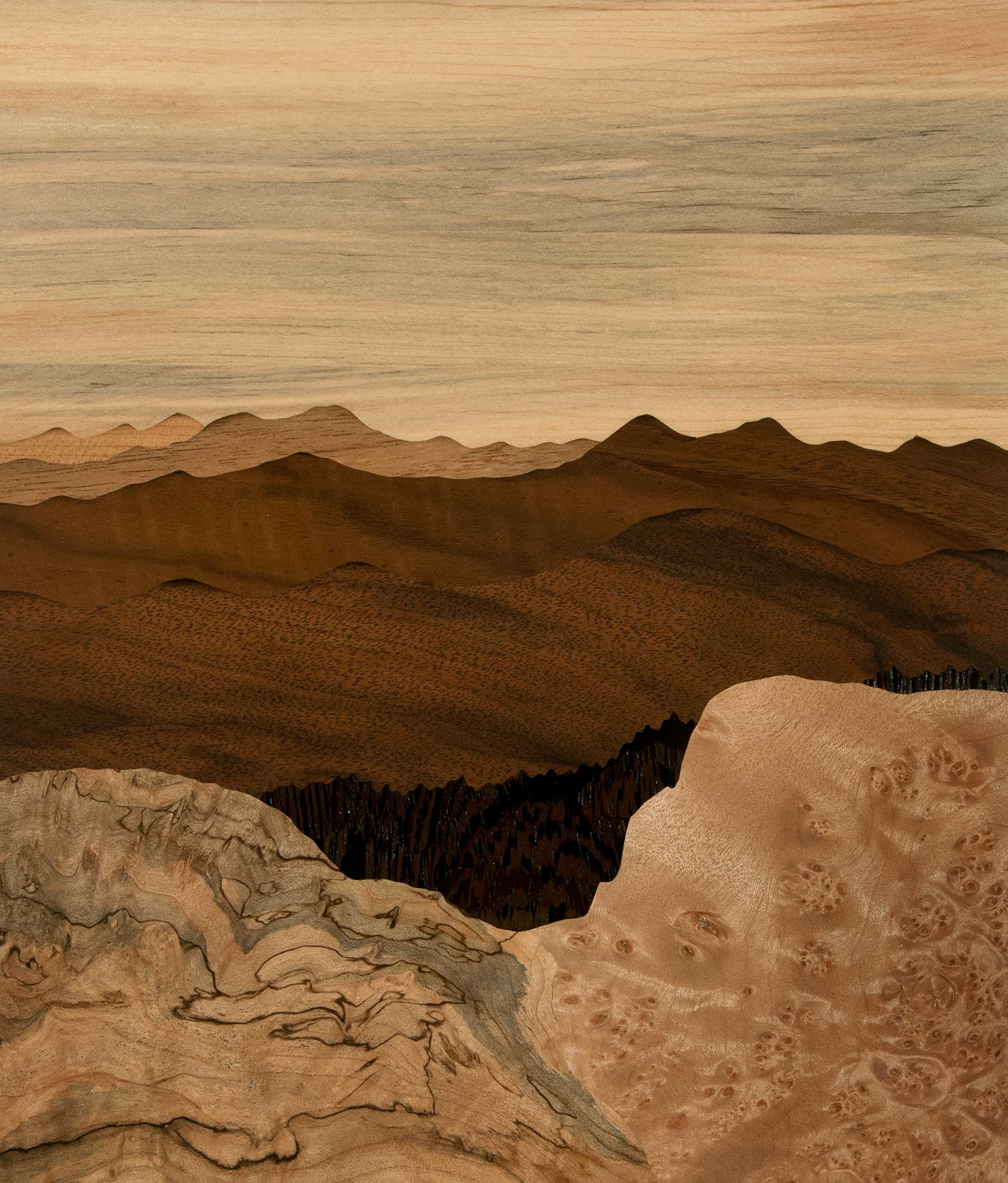 """""""View From The Ridge"""", wood, 9.75"""" x 11.5"""", $1,300"""