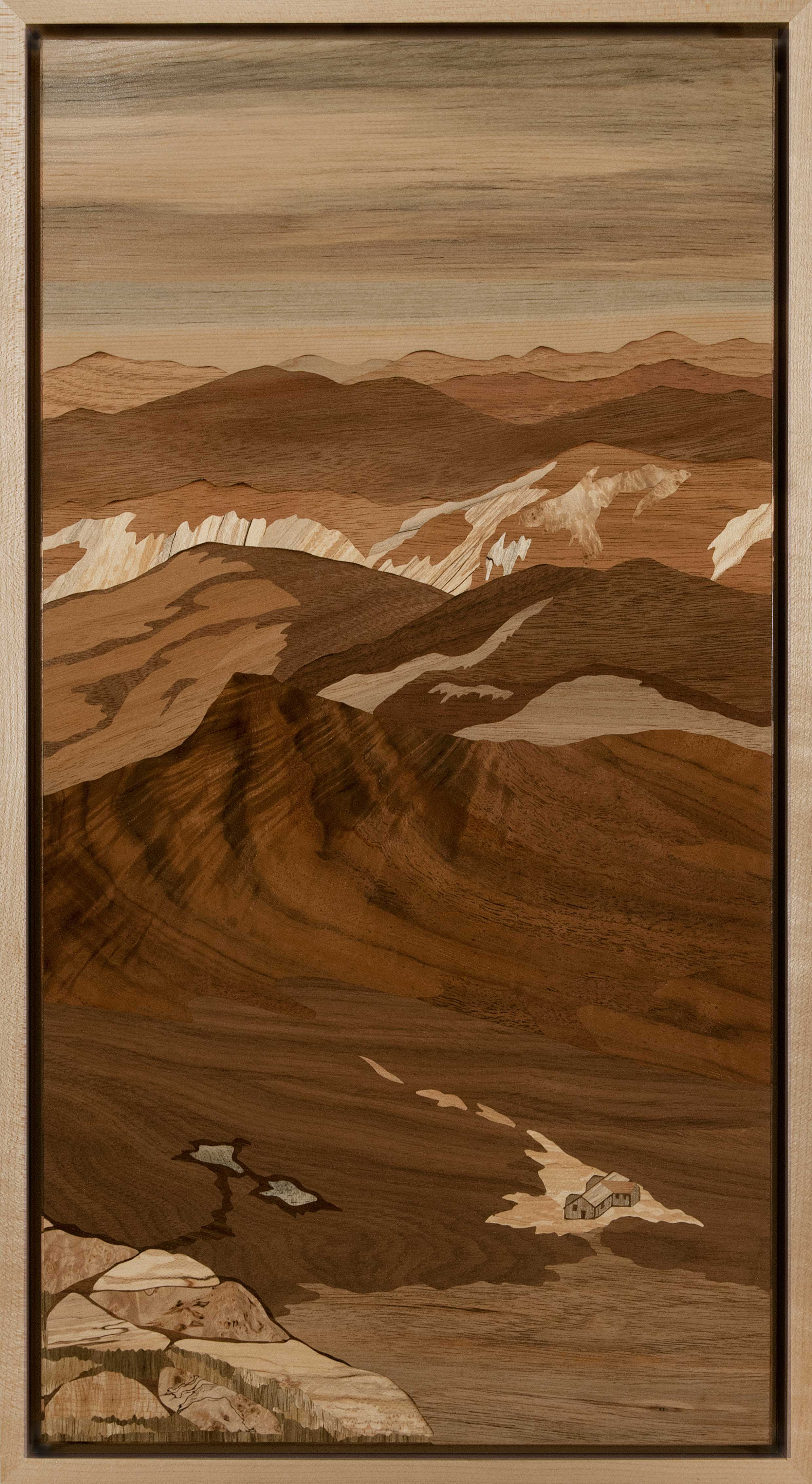 """""""Lakes Of The Clouds Hut, Mt. Monroe"""", wood, 11.5"""" x 21"""", $3,800"""