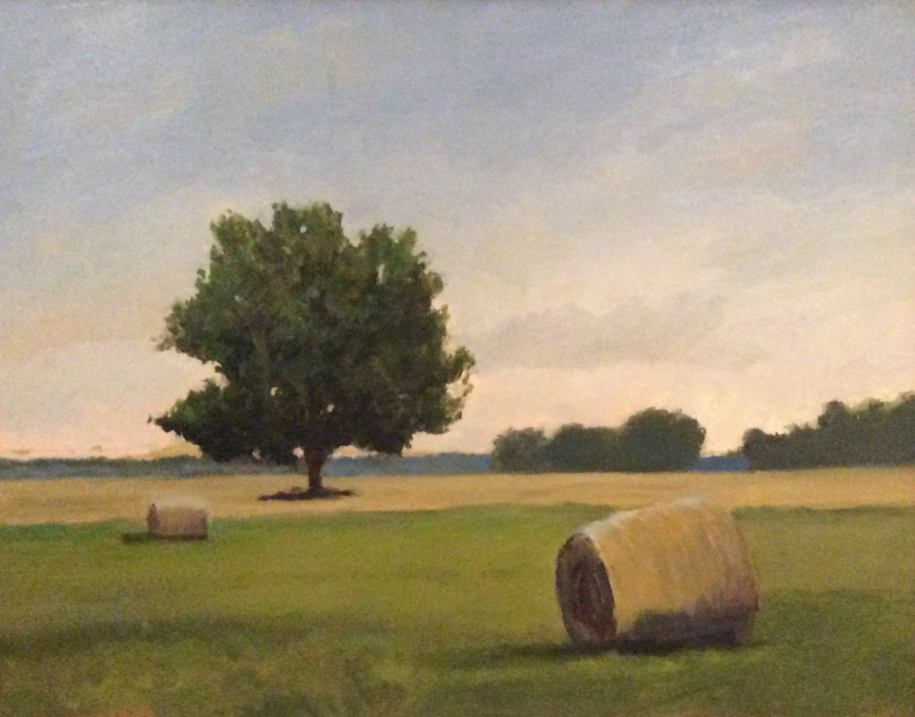 """Hay Bales"" II, oil, 13"" x 16"" (framed), $300"