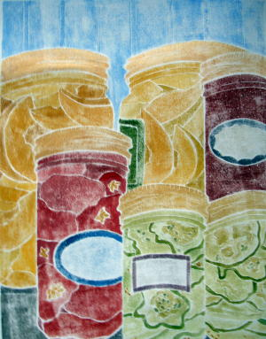 """""""Canned Goods"""", white line woodcut, 11"""" x 9"""", $500 (framed)"""