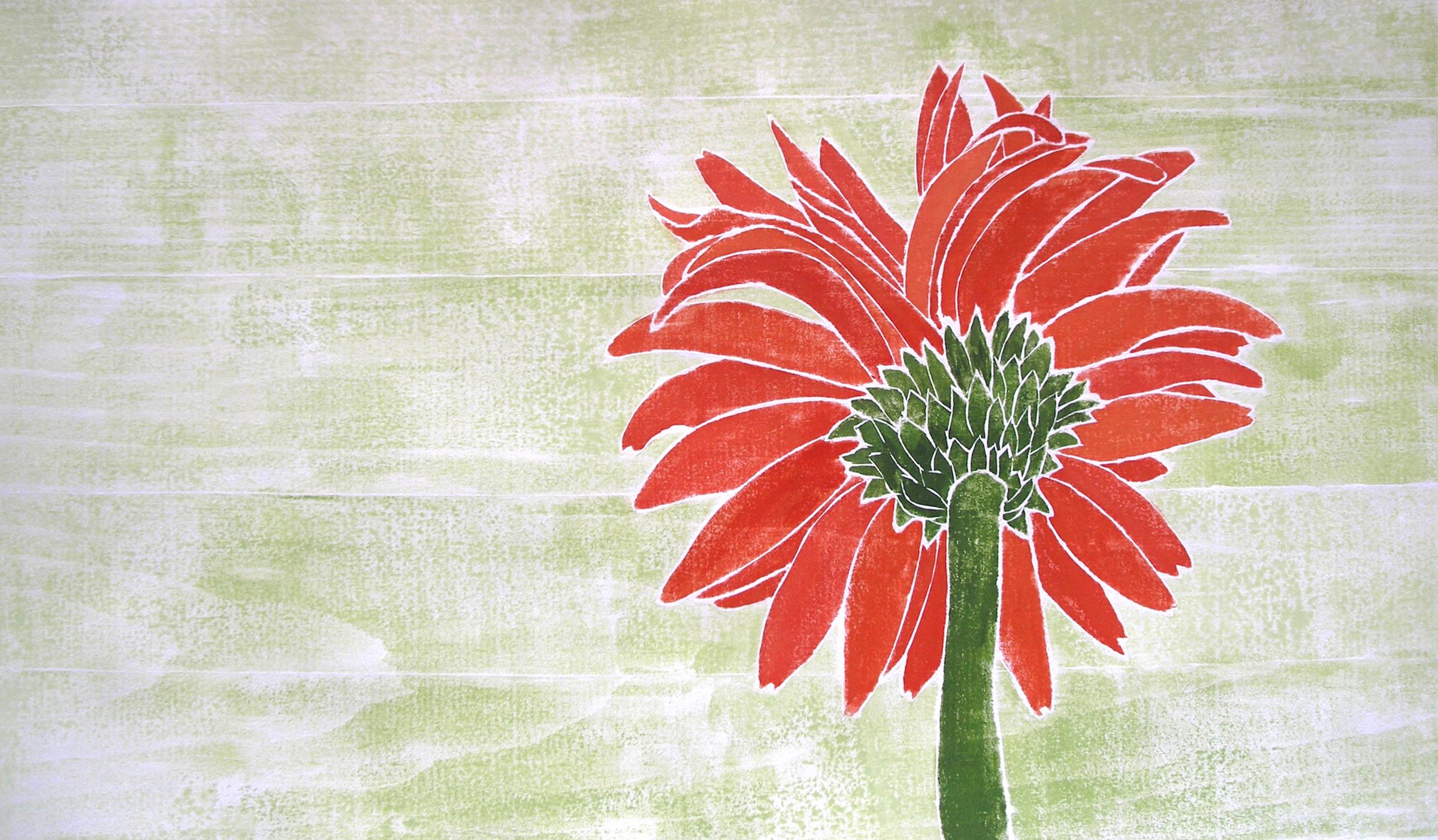 """""""Gerber Daisy"""", white line woodcut, 11""""x 19"""", $400 (framed)"""