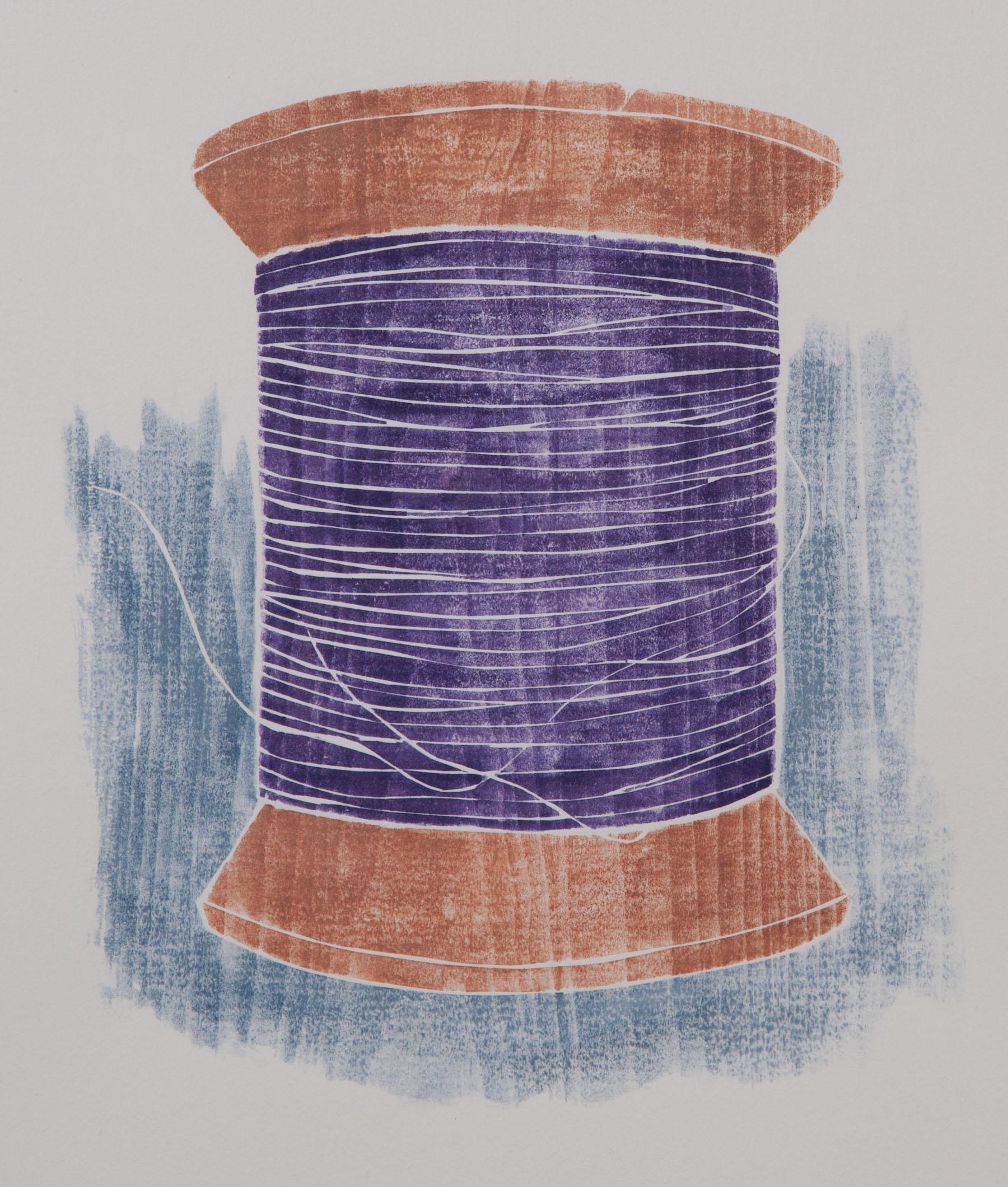 """Old Spool"", white line woodcut, 10"" x 9"", $350 (framed)"