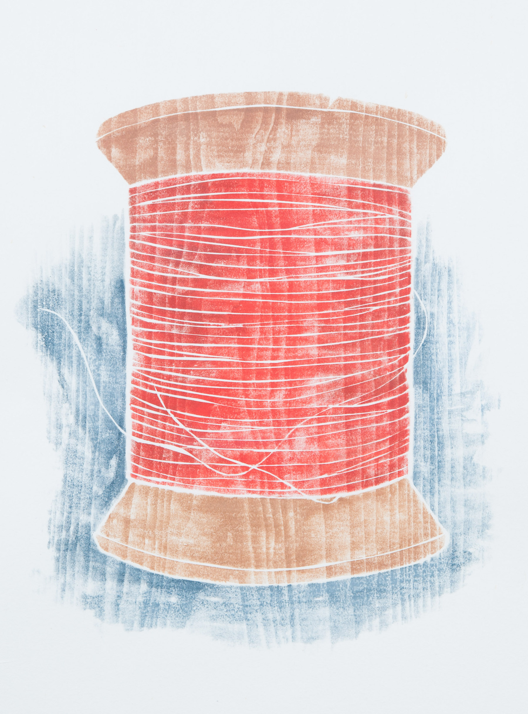 """""""Old Spool"""" (red), white line woodcut, 10"""" x 9"""", $350 (framed)"""