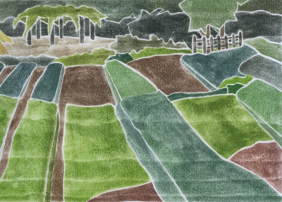 """""""The Corner Farm"""", white line woodcut, 8"""" x 13"""", $450 (framed)"""