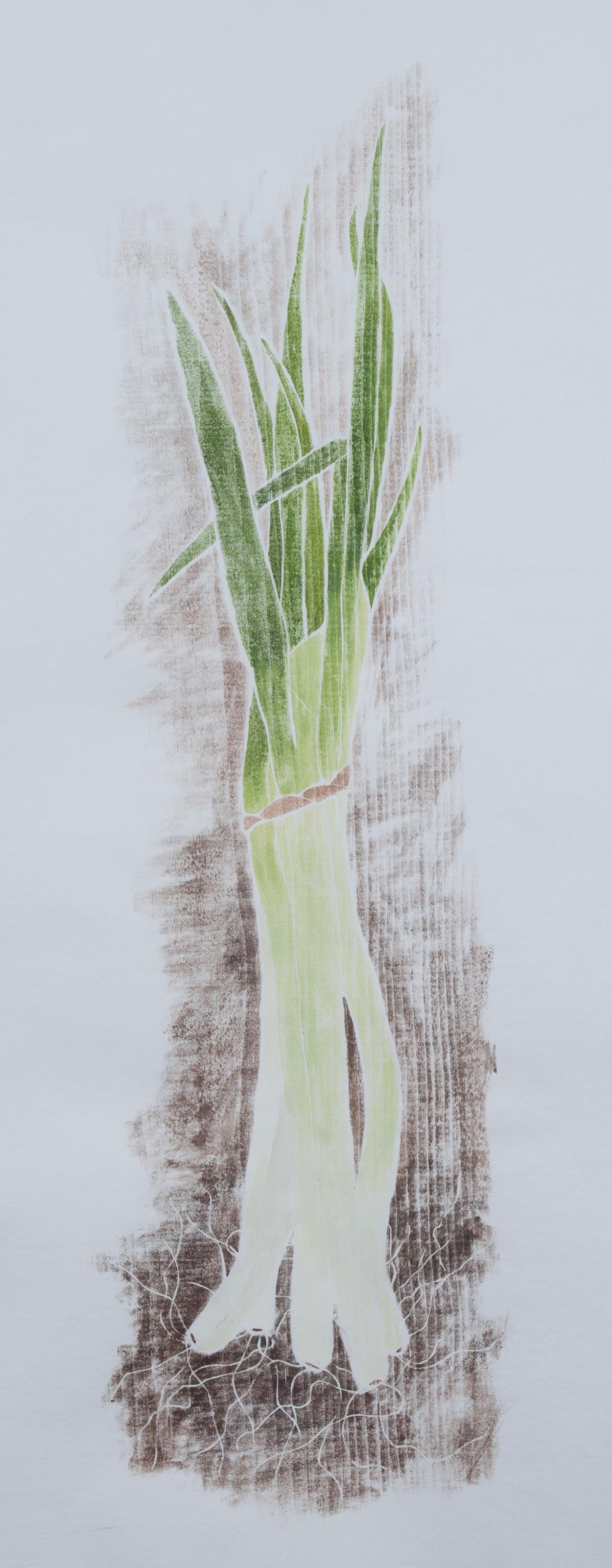 """""""Supoersized"""", white line woodcut, 32"""" x 14"""", $450 (framed)"""