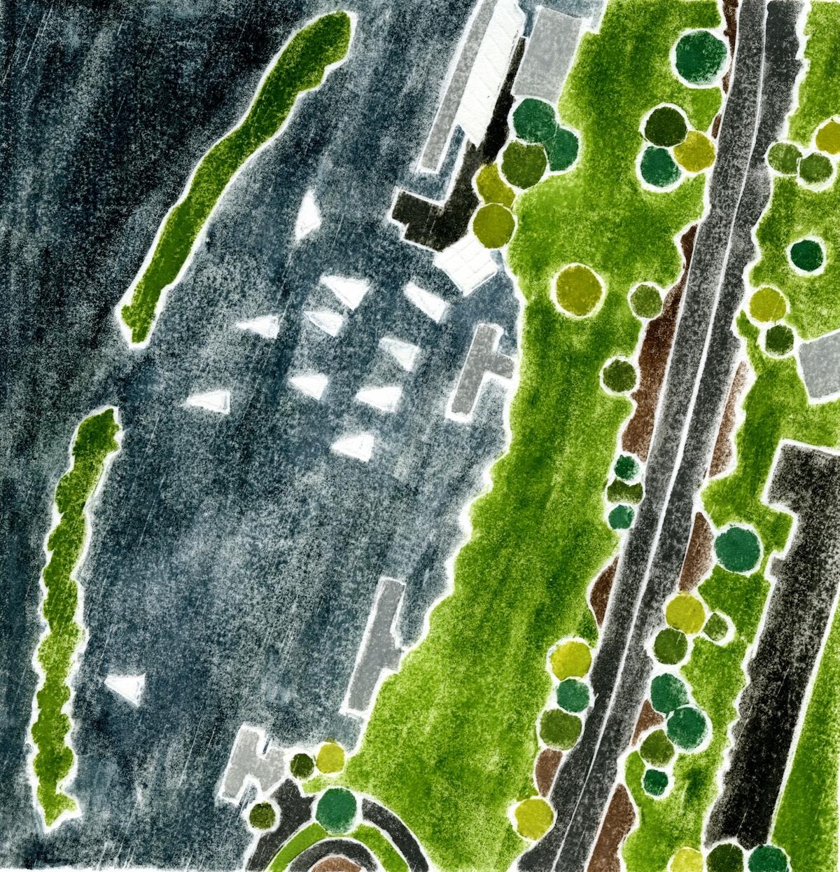 """Community Boating"", white line woodcut, 6"" x 6"", $220 (framed)"