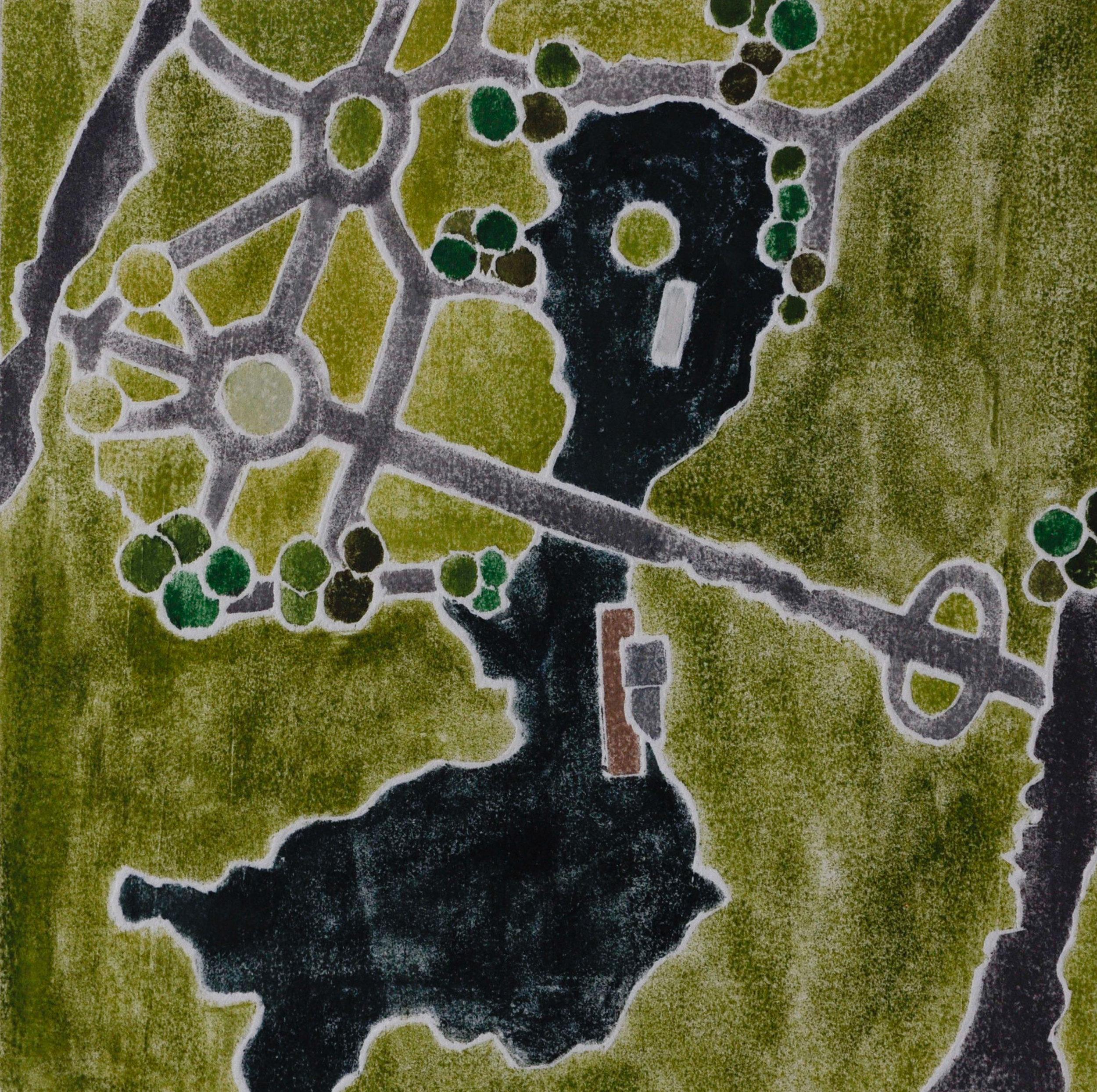 """""""Public Garden"""", white line woodcut, 6"""" x 6"""", $220 (framed)"""