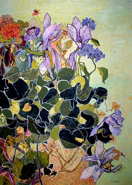 """Cyclamen Landscape"", lithography, monoprints, paint, oil stick, collage, 48"" x 38"", $1,800 (framed)"