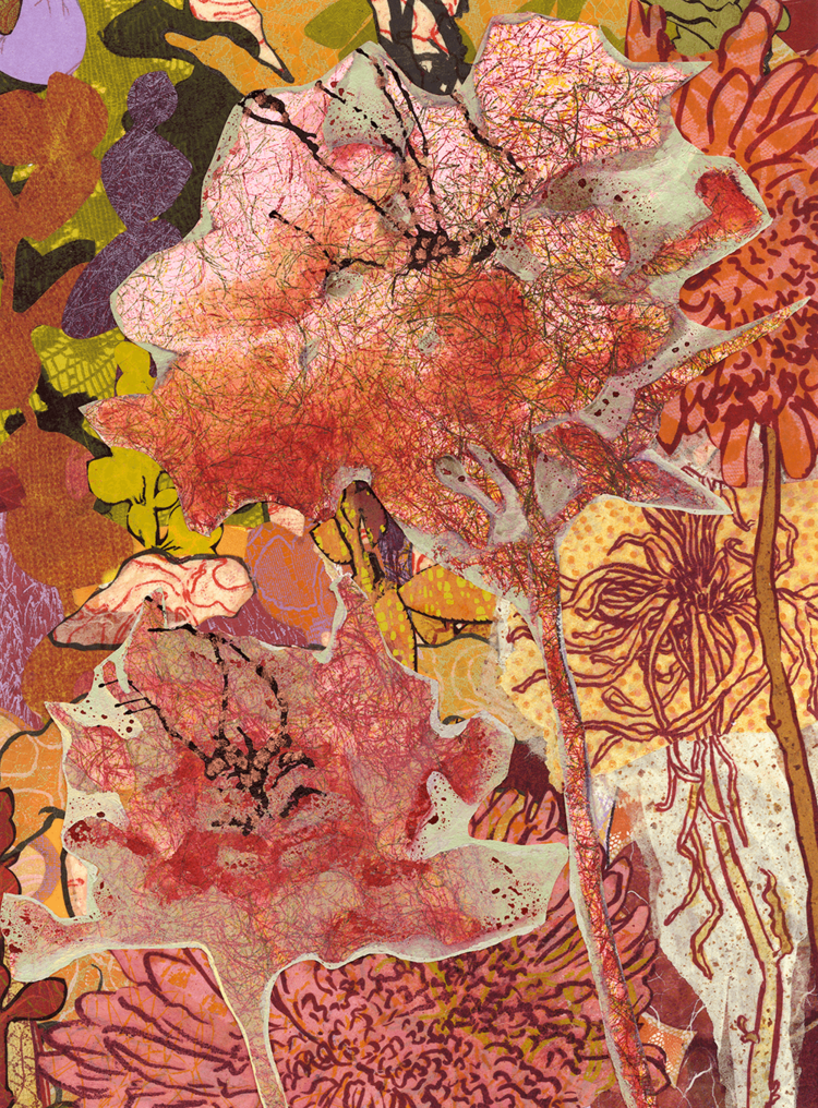 """""""Blooms"""", monoprint, paint, collage, 22"""" x 18"""", $500 (framed)"""