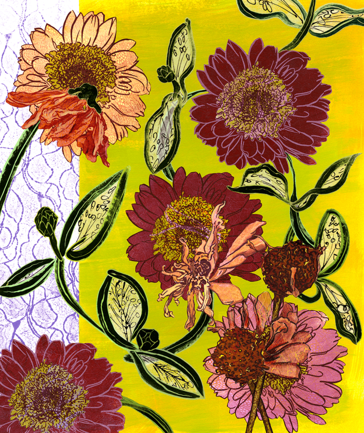 """""""Gerber Daisies"""", monoprints, lithography, oil stick, paint, 29"""" x 24"""" (matted, unframed)"""