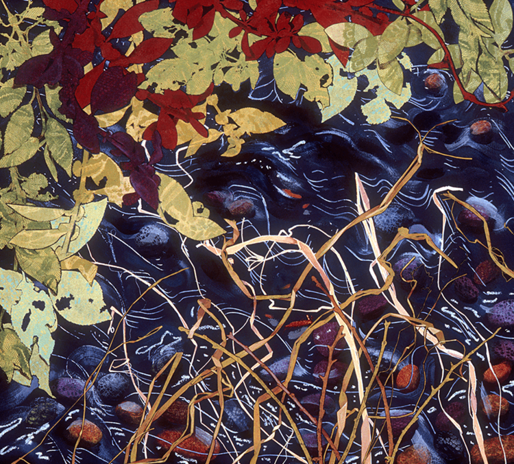 """""""River III"""", monoprint, paint, oilstick, 30"""" x 32"""", $1,100 (framed)"""