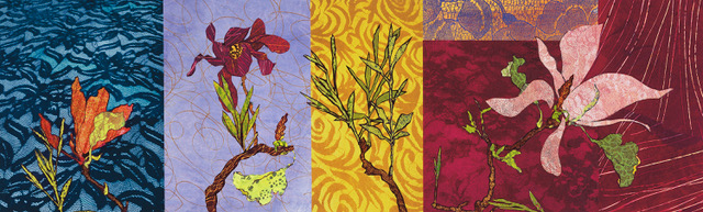 """""""Family Tree"""", monoprint, collage, lithography, 40"""" x 17.5"""", $1,700 (framed)"""