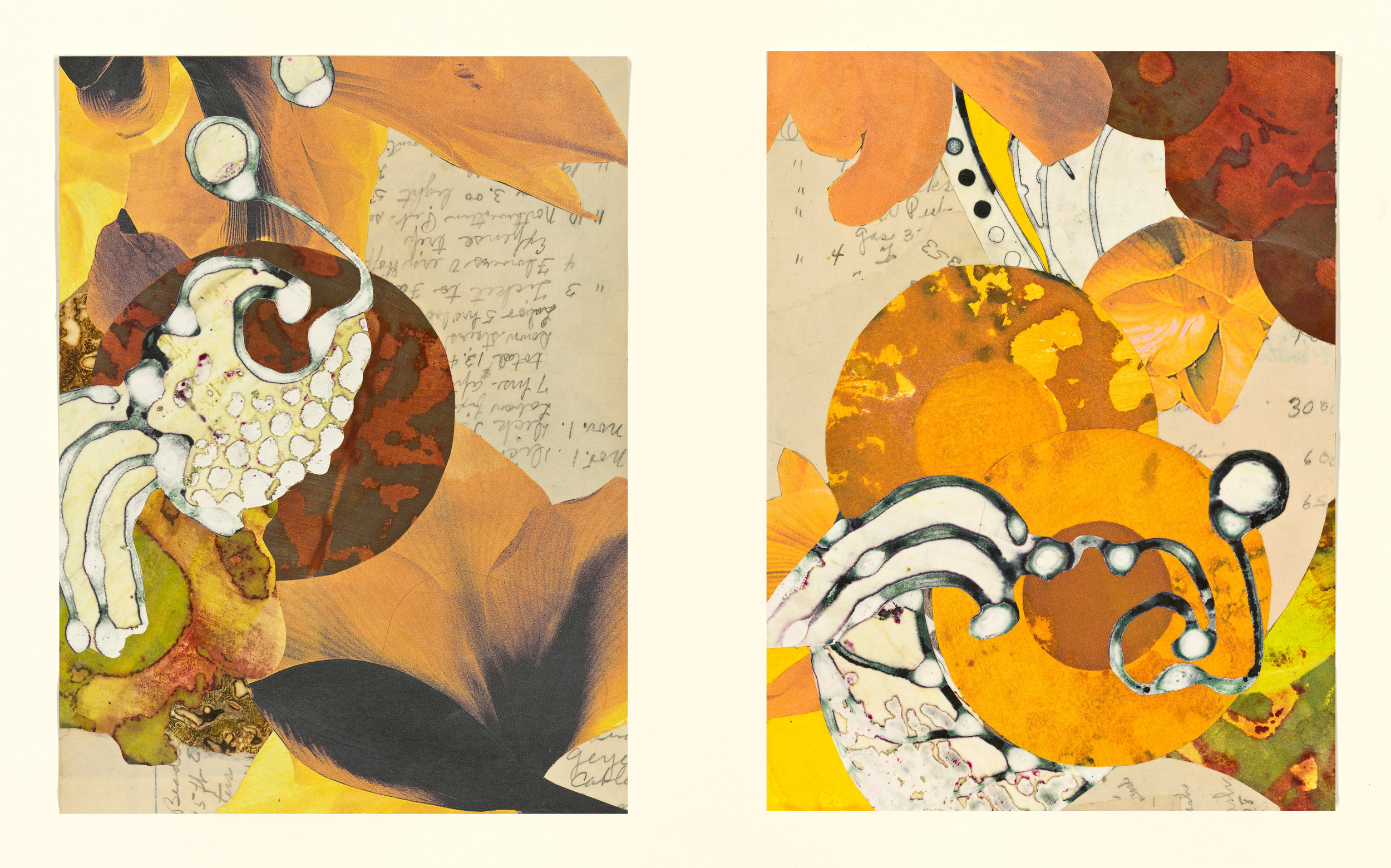 """Edna's Accounts - Orange Circles"", mixed media collage, 14"" x 18"", $525 (framed)"