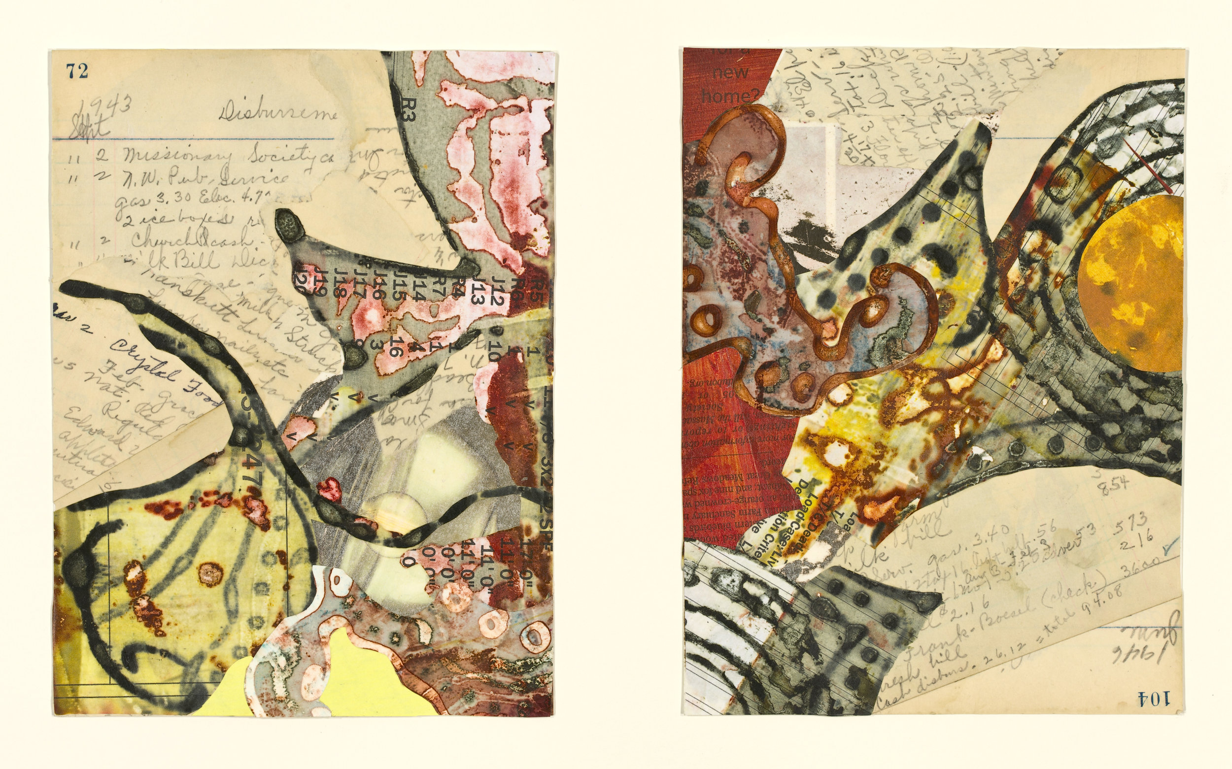 """Edna's Accounts - Page 72, Page 104"", mixed media collage, 14"" x 18"", $525 (framed)"