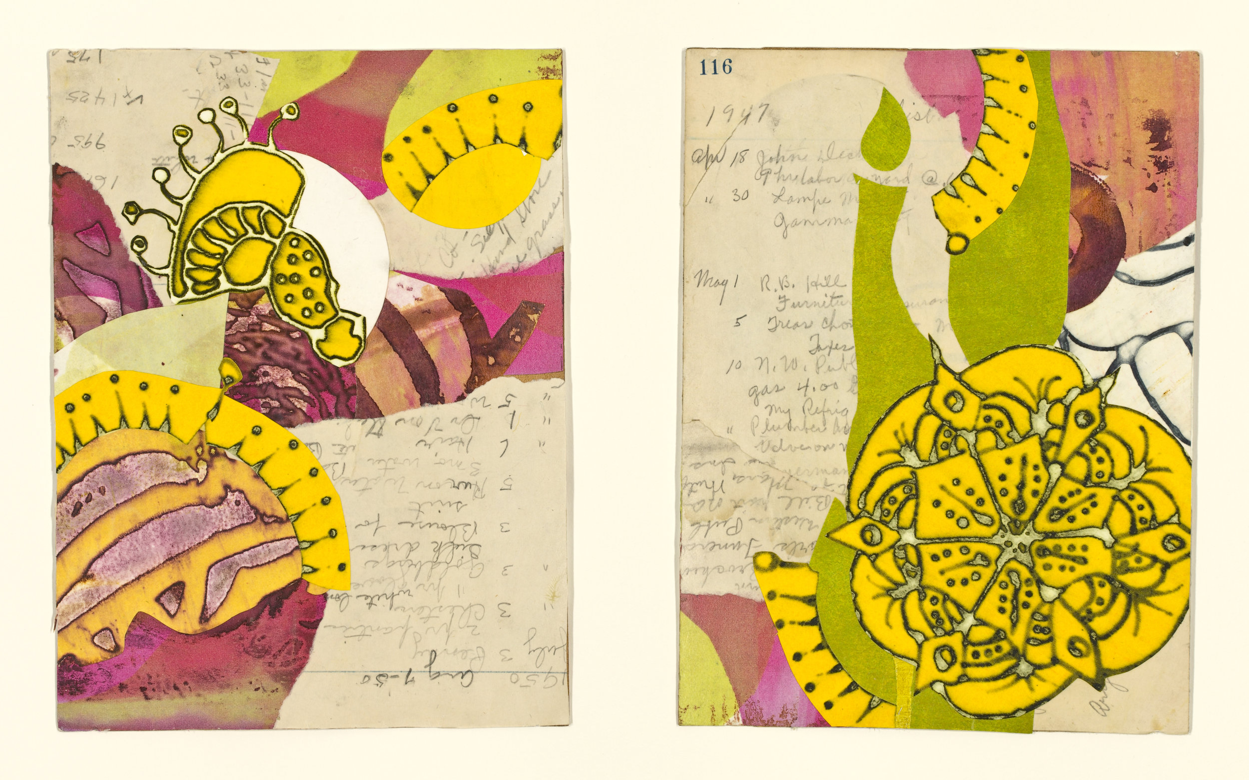 """Edna's Accounts - Pages 115-116 "", mixed media collage, 14"" x 18"", $525 (framed)"