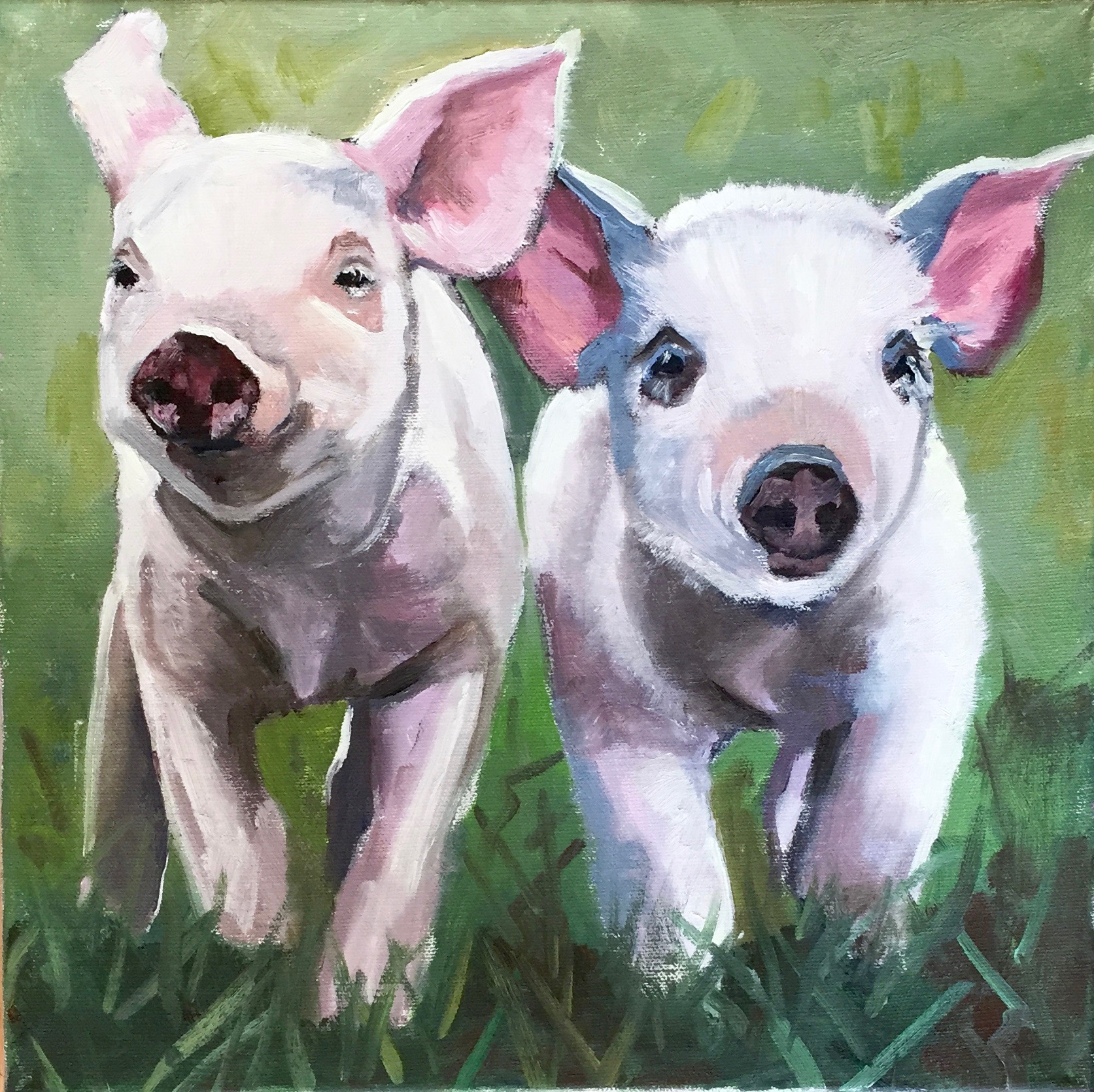 """Pig Charge"", oil on canvas, 12"" x 12"", $475 (framed)"