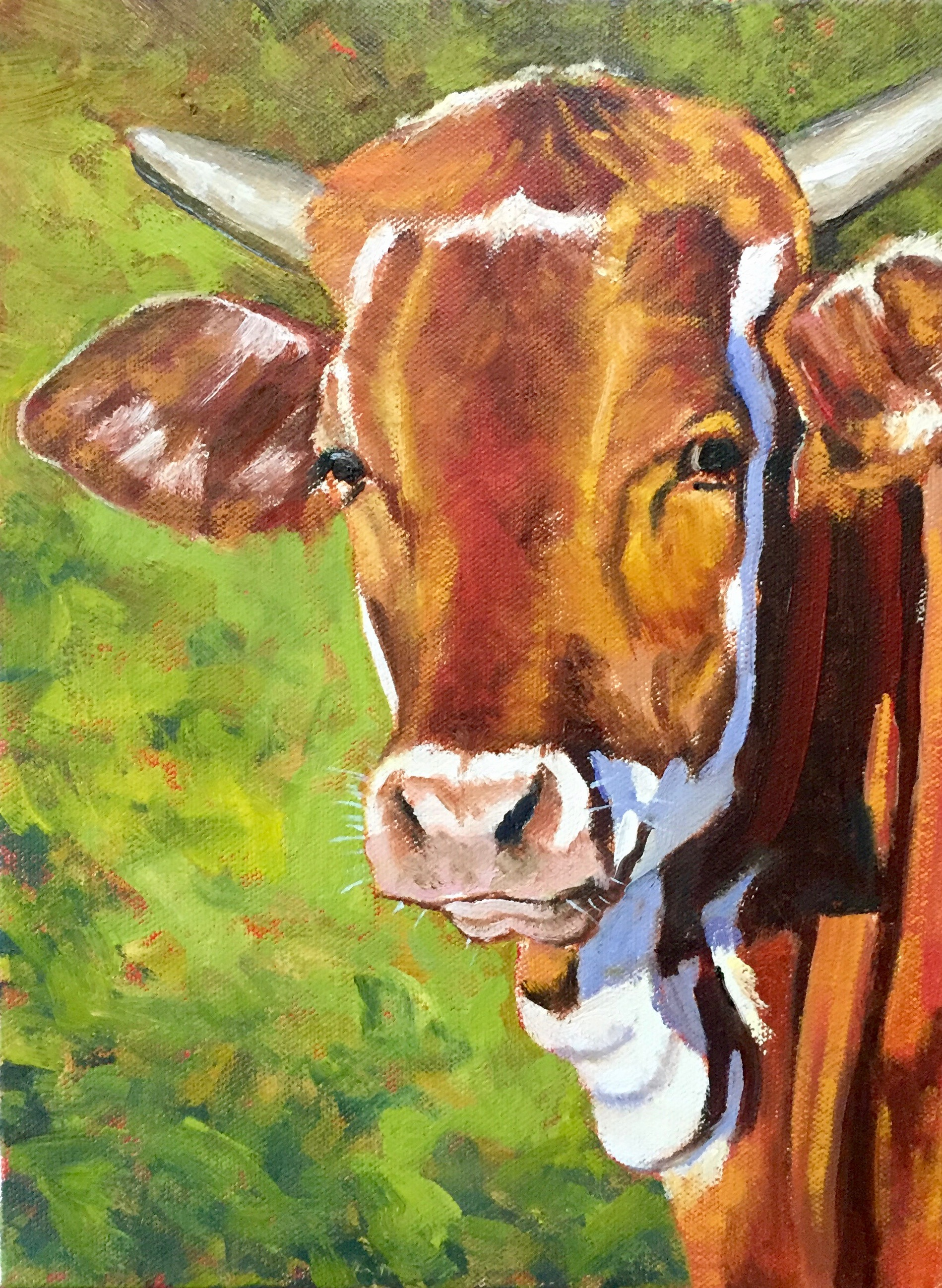 """Red Cow"", oil on canvas, 9"" x 12"", $400 (framed)"