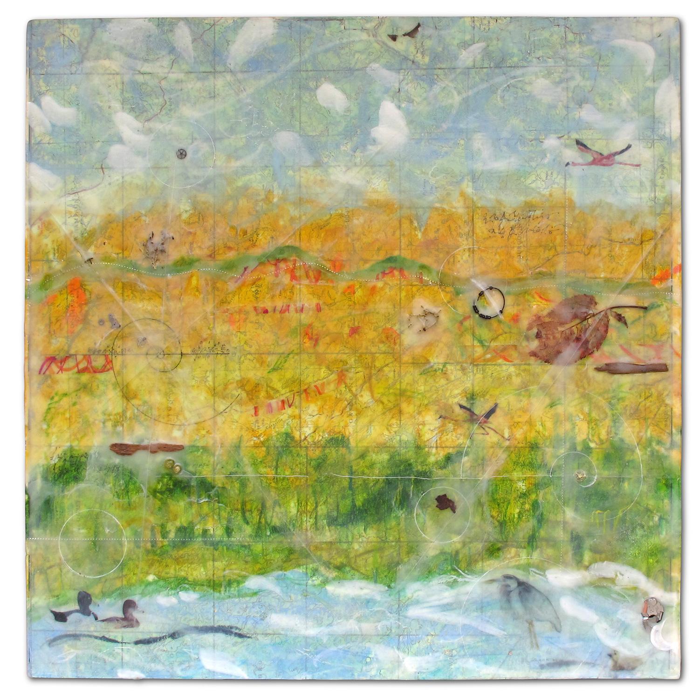 """""""Autumn Map"""", encaustic, 18"""" x 18"""", $400"""