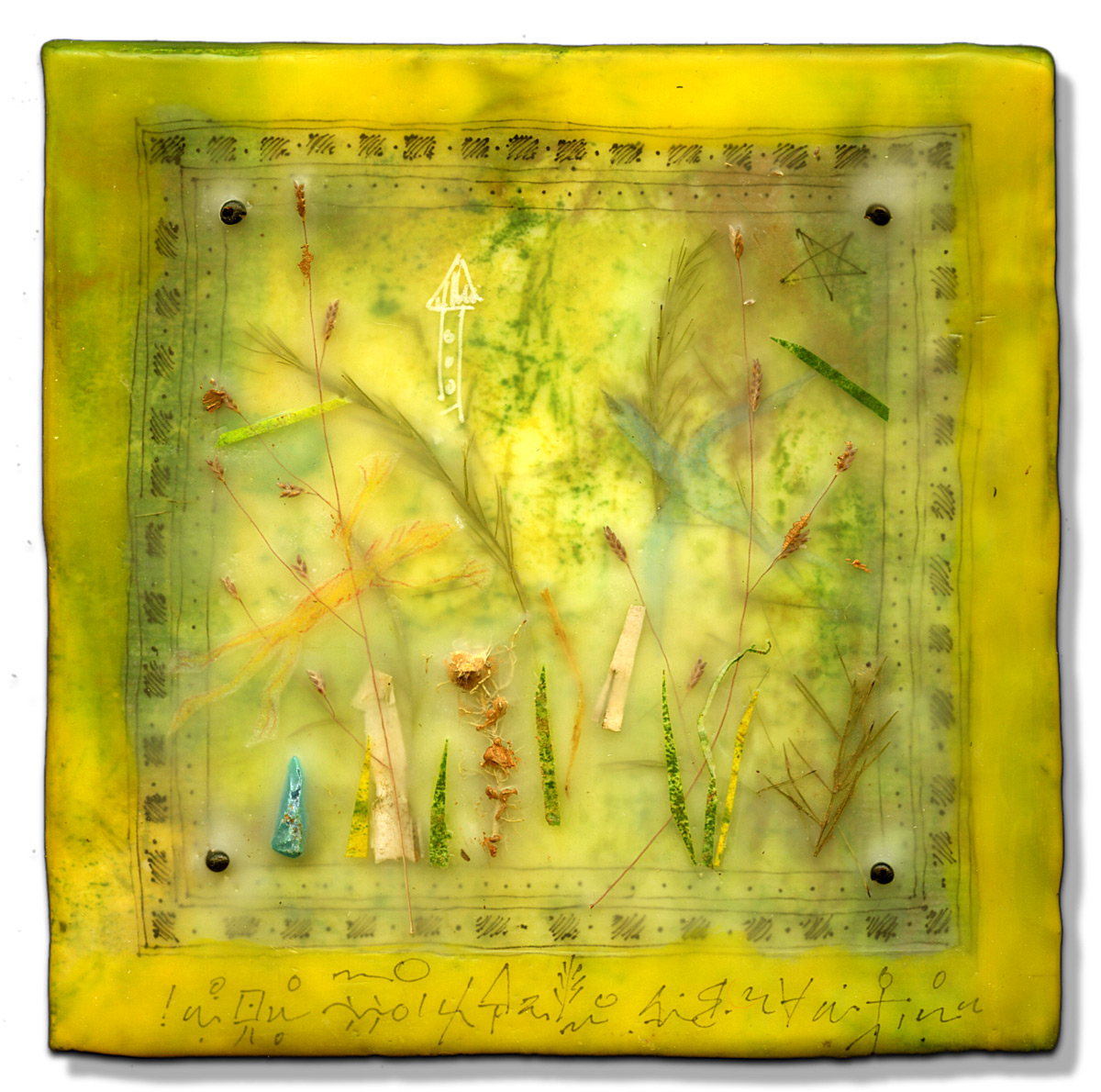 """""""Flying Forest"""", encaustic, 5"""" x 5"""", $150"""