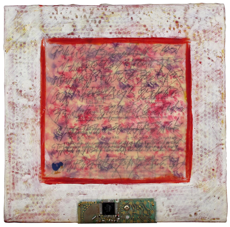 """""""Manuscript R"""", encaustic, 10"""" x 10"""", $250"""