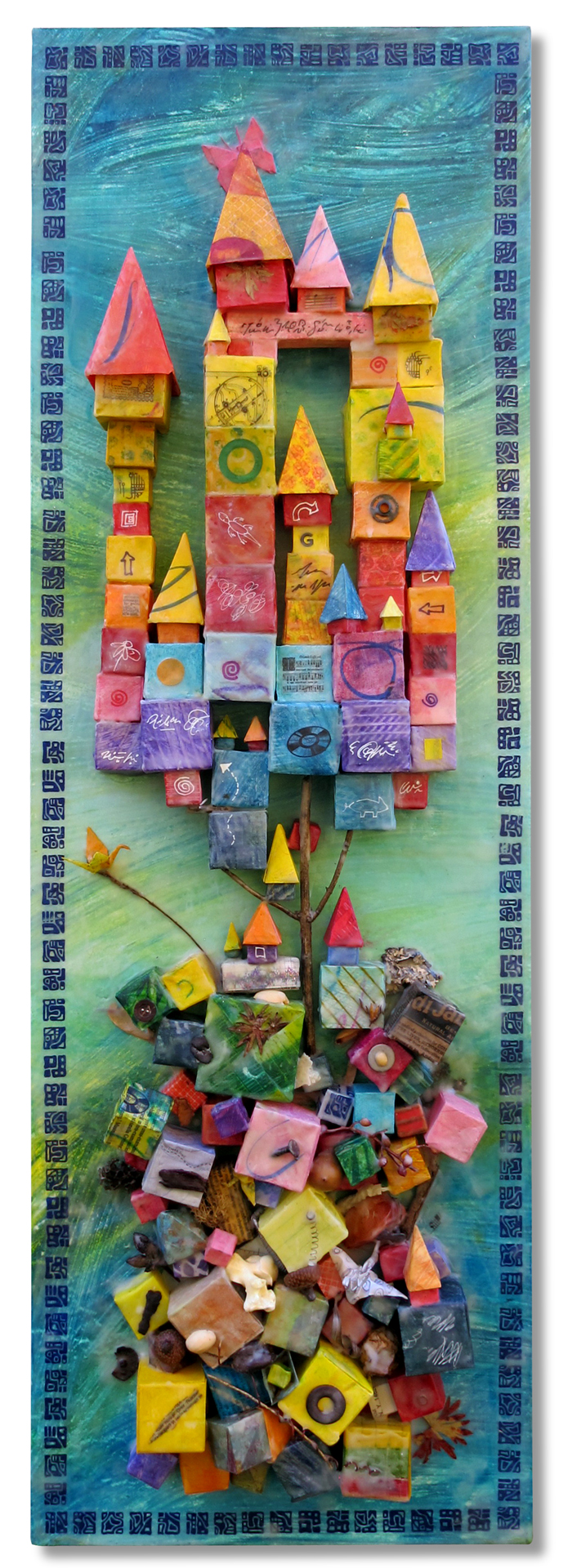 """""""Out Of Chaos"""", encaustic & origami, 36"""" x 12"""", $650"""