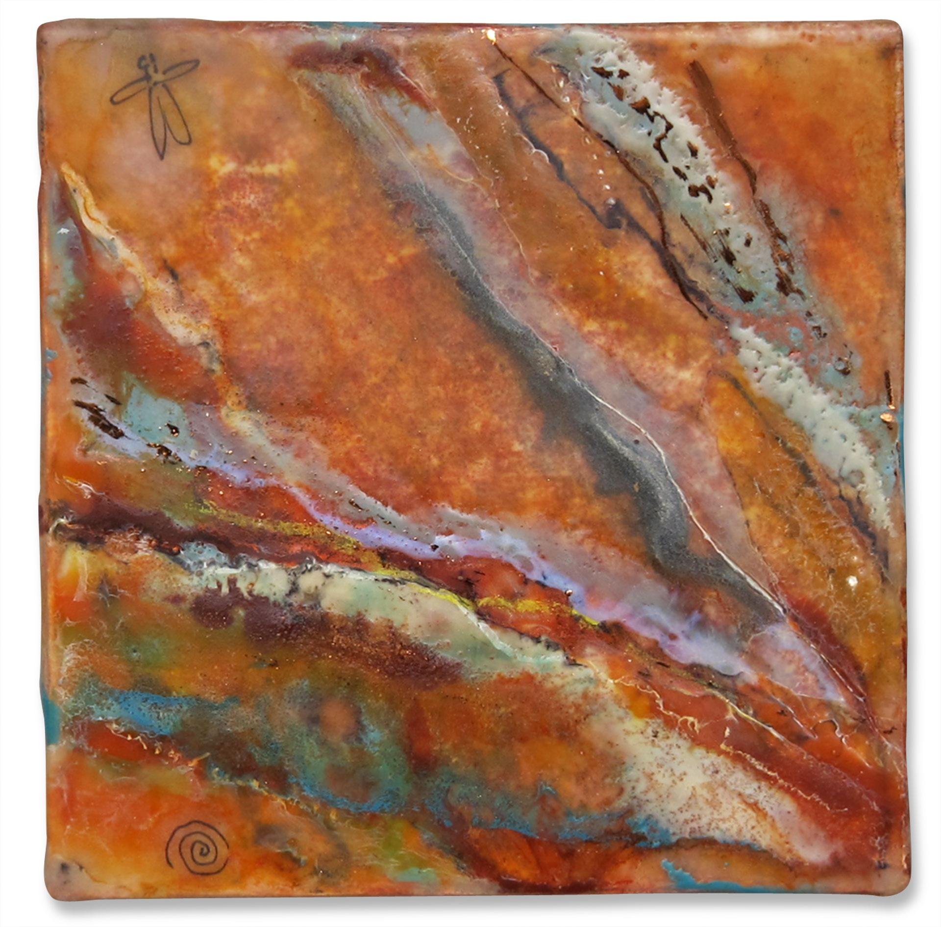"""Rocks II"", encaustic, 4"" x 4"", $75"