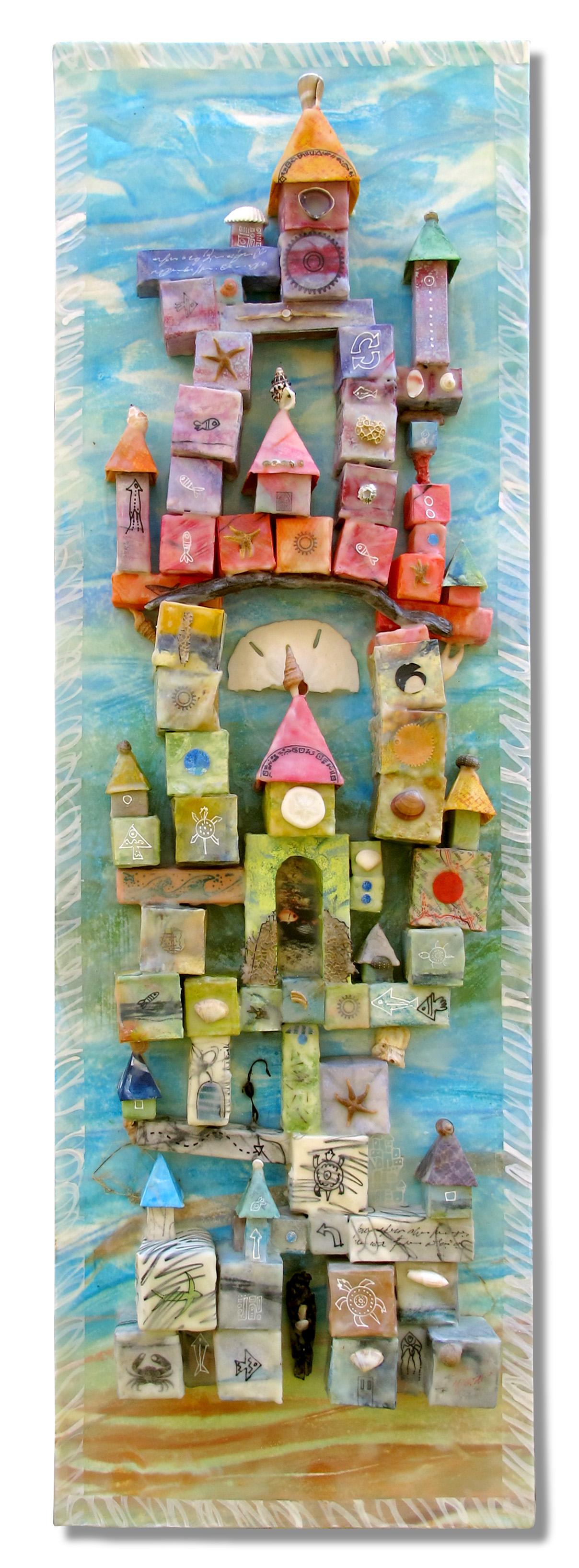 """""""Sand Castle"""", encaustic & origami, 36"""" x 12"""", $650"""