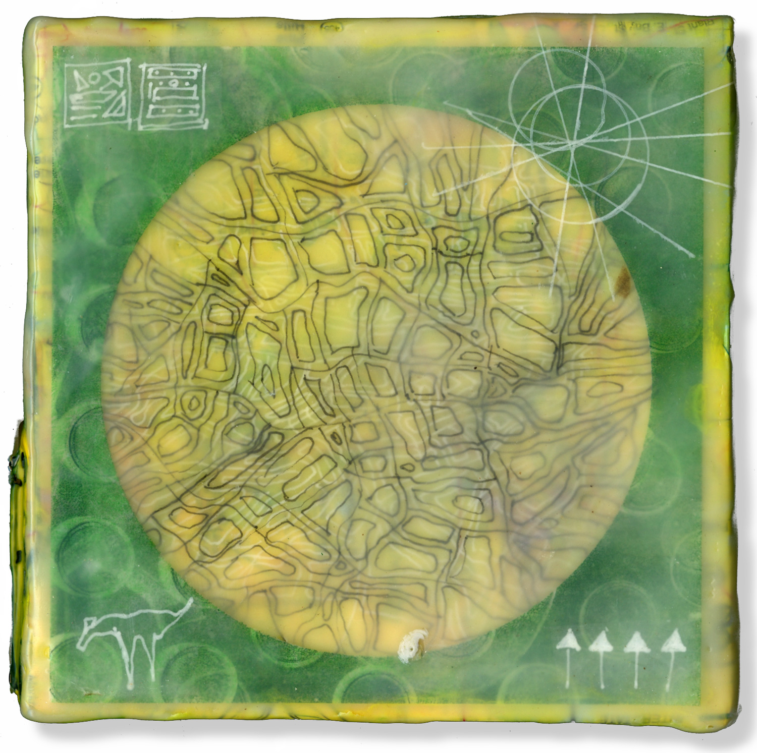 """""""Map Of The Excavations"""", encaustic, 5"""" x 5"""", $125"""