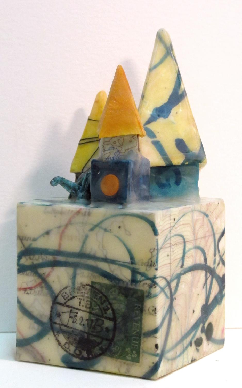 """City Block"", encaustic & origami, 6"" x 2"" x 2"", $125"