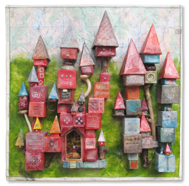 """Home Sweet Home"", encaustic & origami, 16"" x 16"", $400"