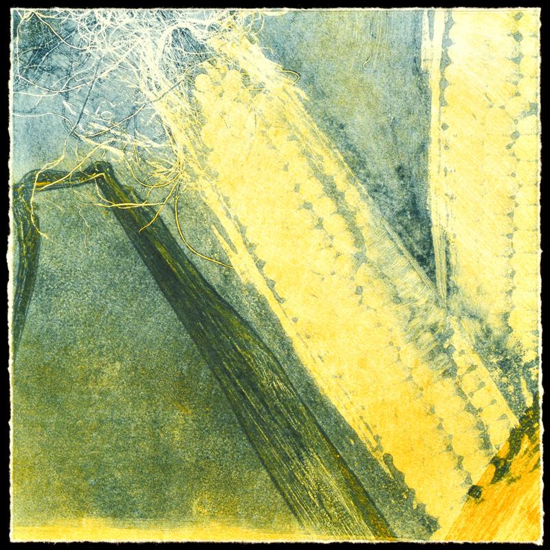 """""""Corn Tales I"""", monoprint, 11.5"""" x 11.5"""", $200 (framed)"""