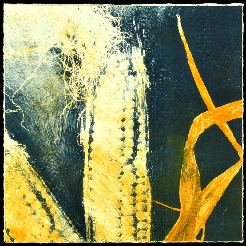 """Corn Tales III"", monoprint, 11.5"" x 11.5"", $200 (framed)"