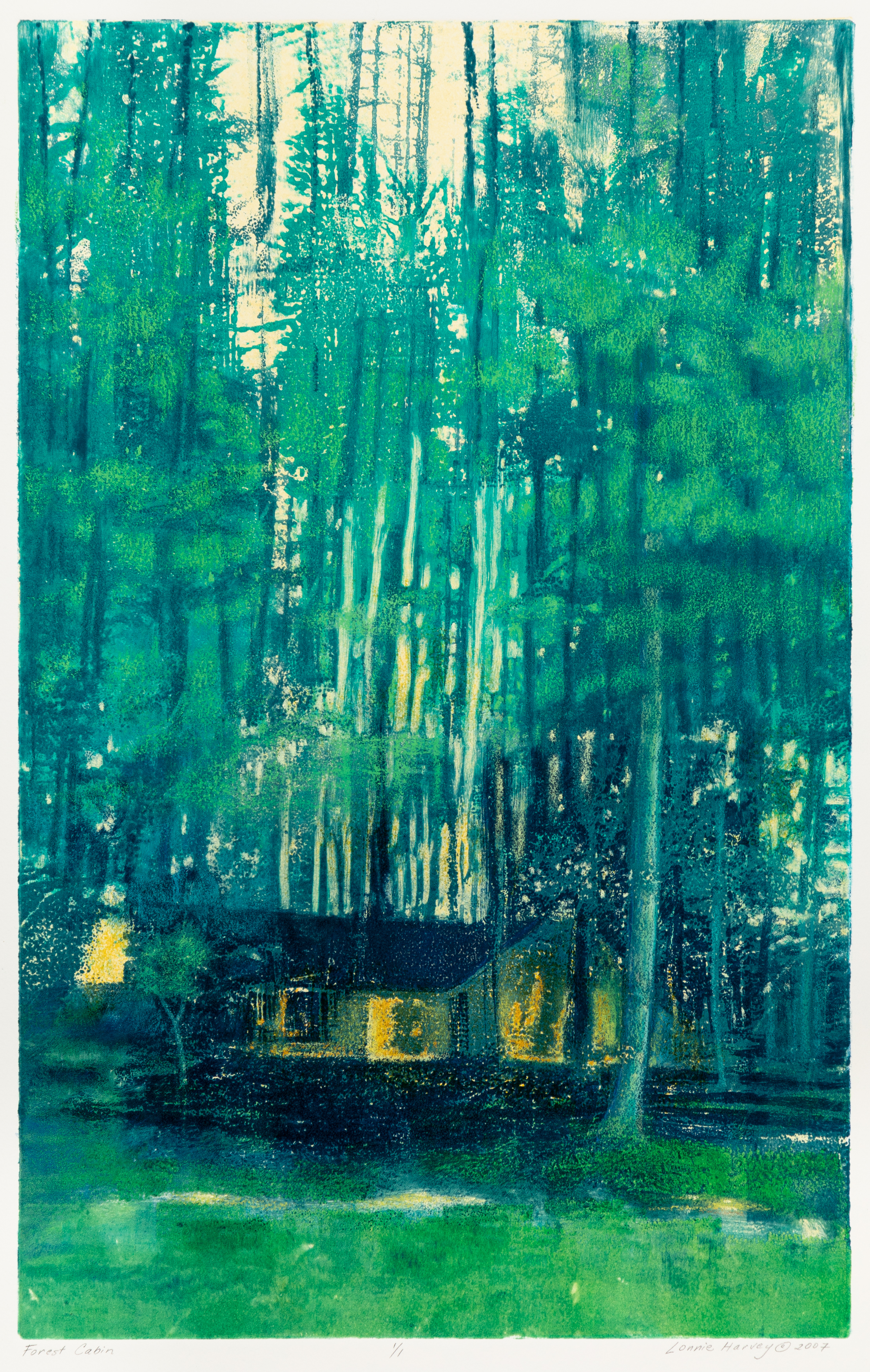 """Forest Cabin"", monoprint, 29.5"" x 21"", $550 (framed)"