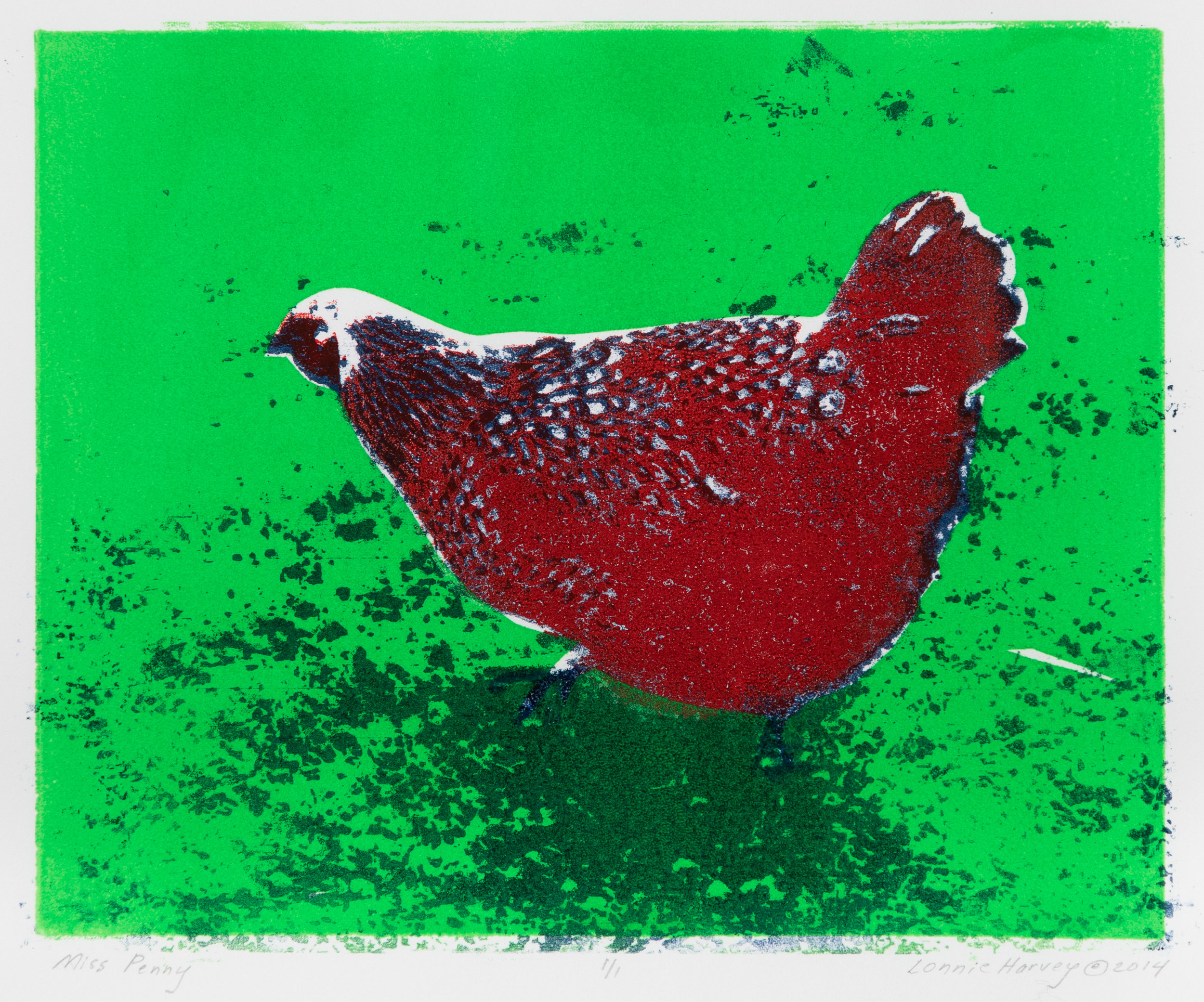 """Miss Penny"", monoprint, 15.25"" x 16.75"", $250 (framed)"