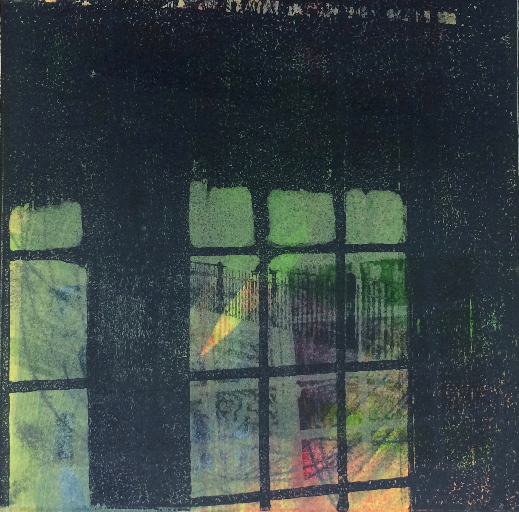"""Window Reflections"", monoprint, 16"" x 15.5"", $300 (framed)"