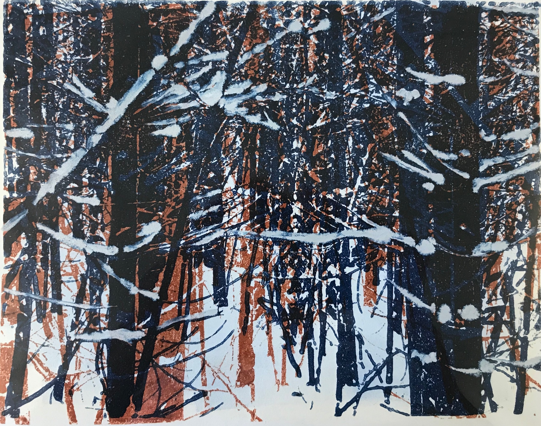 """Norwegian Wood II"", monoprint, 8"" x 10"", $150 (unframed)"