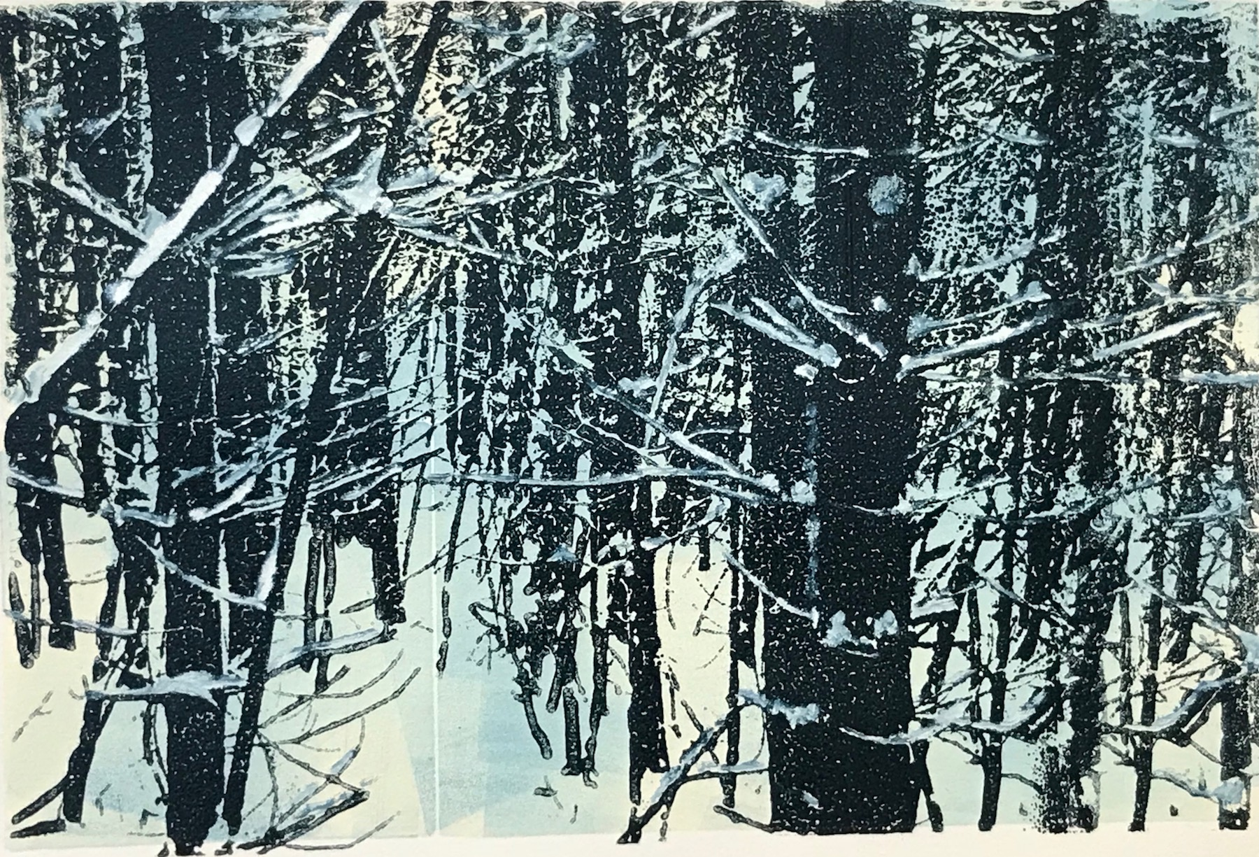 """Snowy Passage"", monoprint, 8"" x12"", $150 (unframed)"