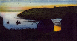 """Monhegan Island Sunset"",  multi-plate etching, $225 (framed), $175 (unframed)"