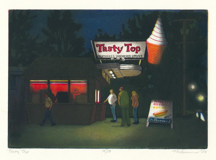 """Tasty Top"",  multi-plate etching, $460 (unframed)"
