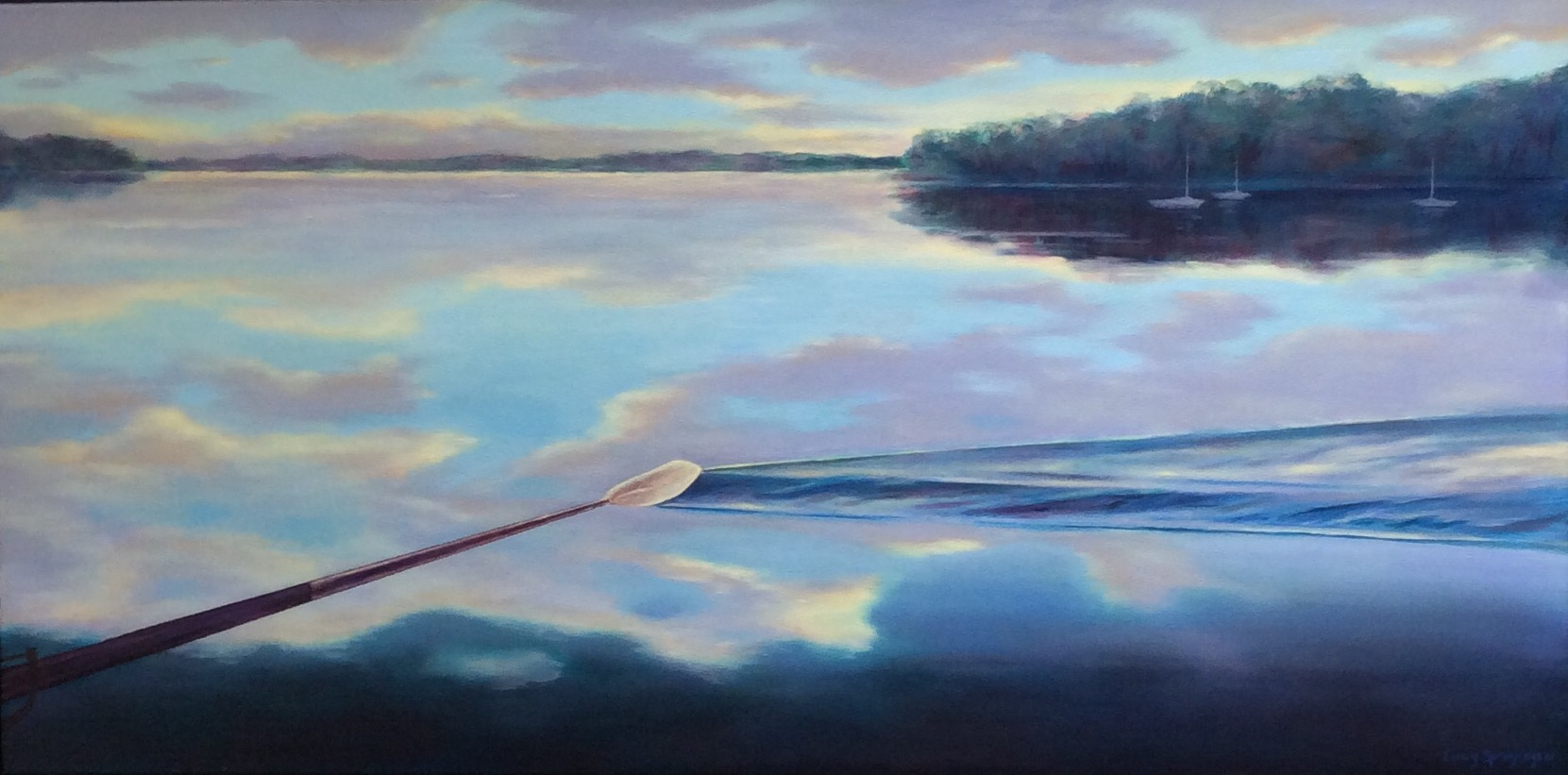 """Trailing Oar"", oil, 18"" x 36"", $1,500"