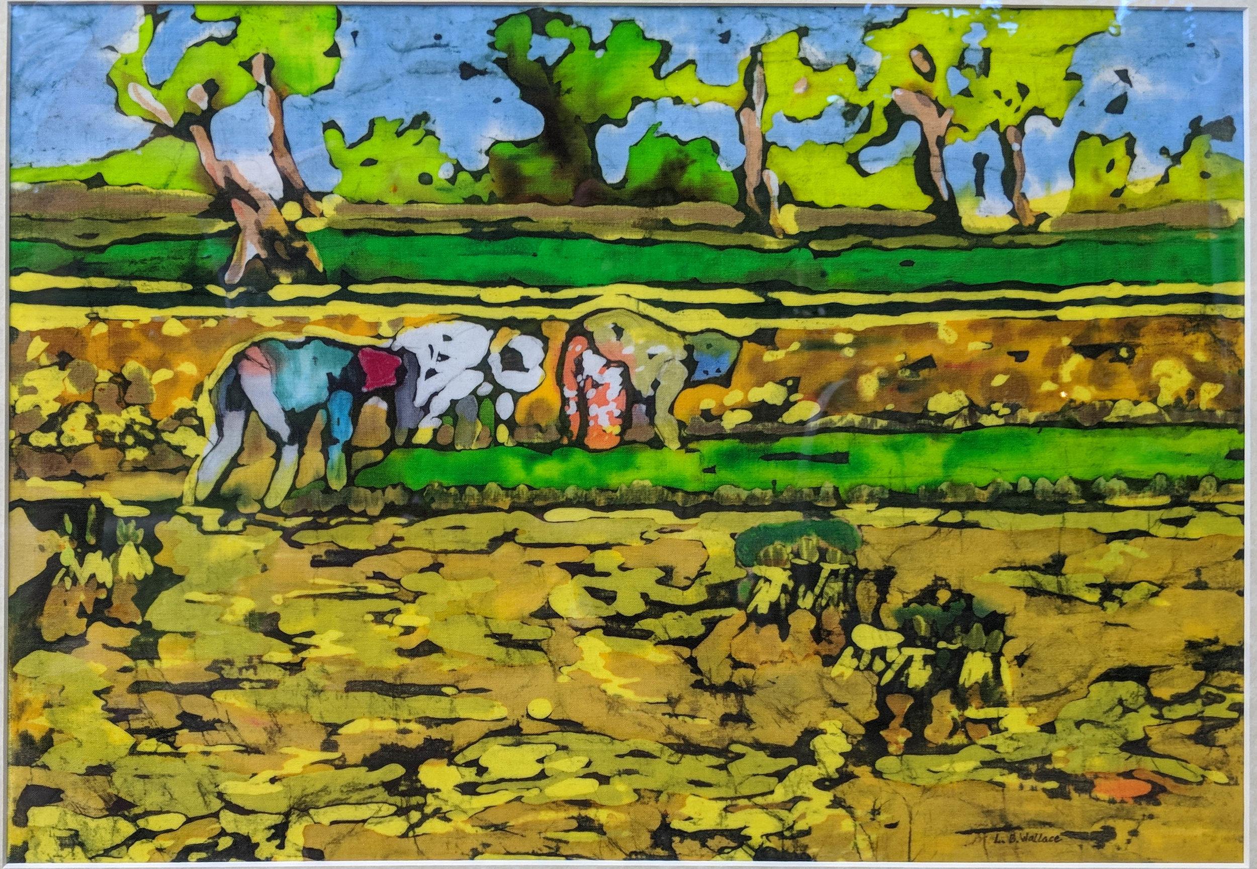 """""""Time For Planting"""", batik, 18"""" x 22"""", $395 (framed)"""