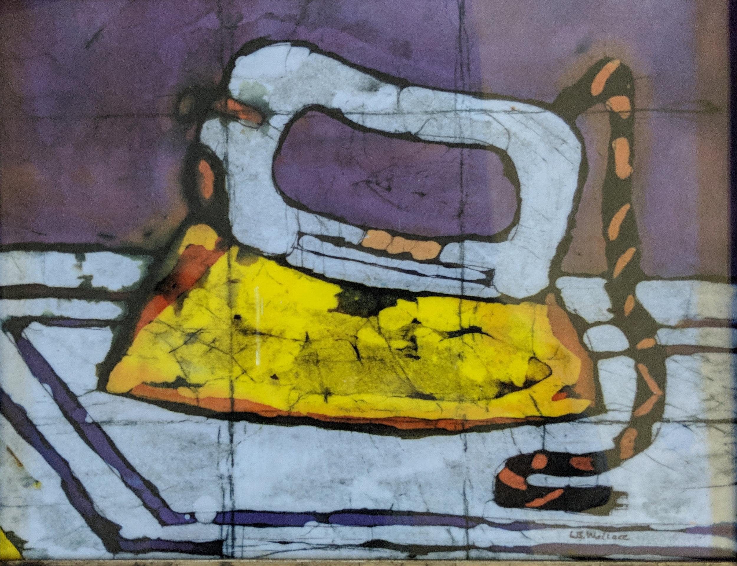 """""""Pressed For Time"""", batik, 14"""" x 16"""", $250 (framed)"""